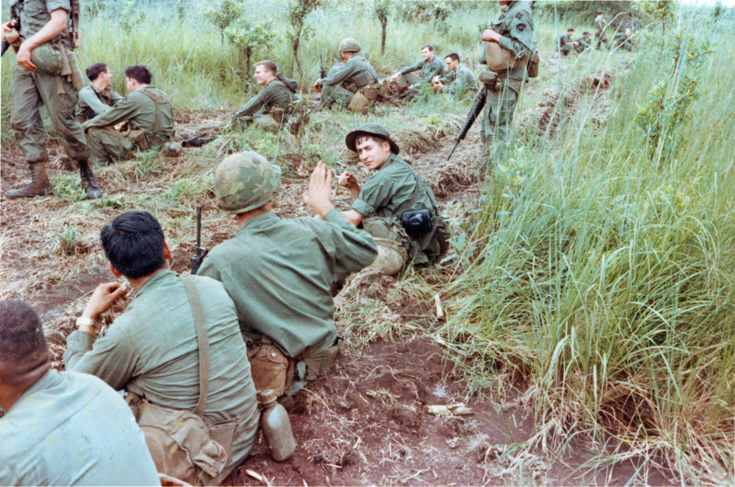 Jere Meacham on patrol in Vietnam with other members of the U.S. Army's Fourth Infantry Division. He sent the images to his son in 1999