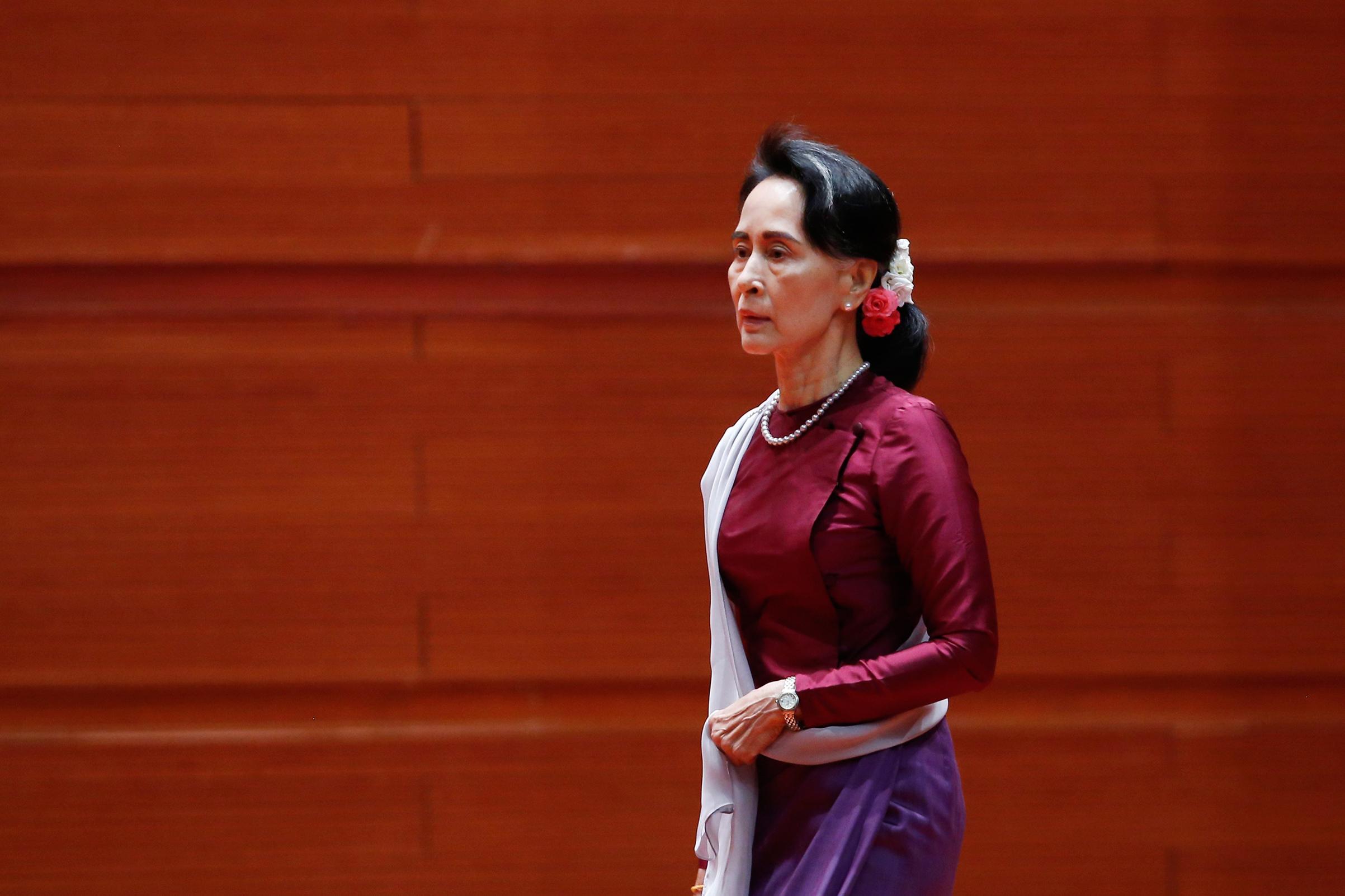 Aung San Suu Kyi, before her Sept. 19 speech.