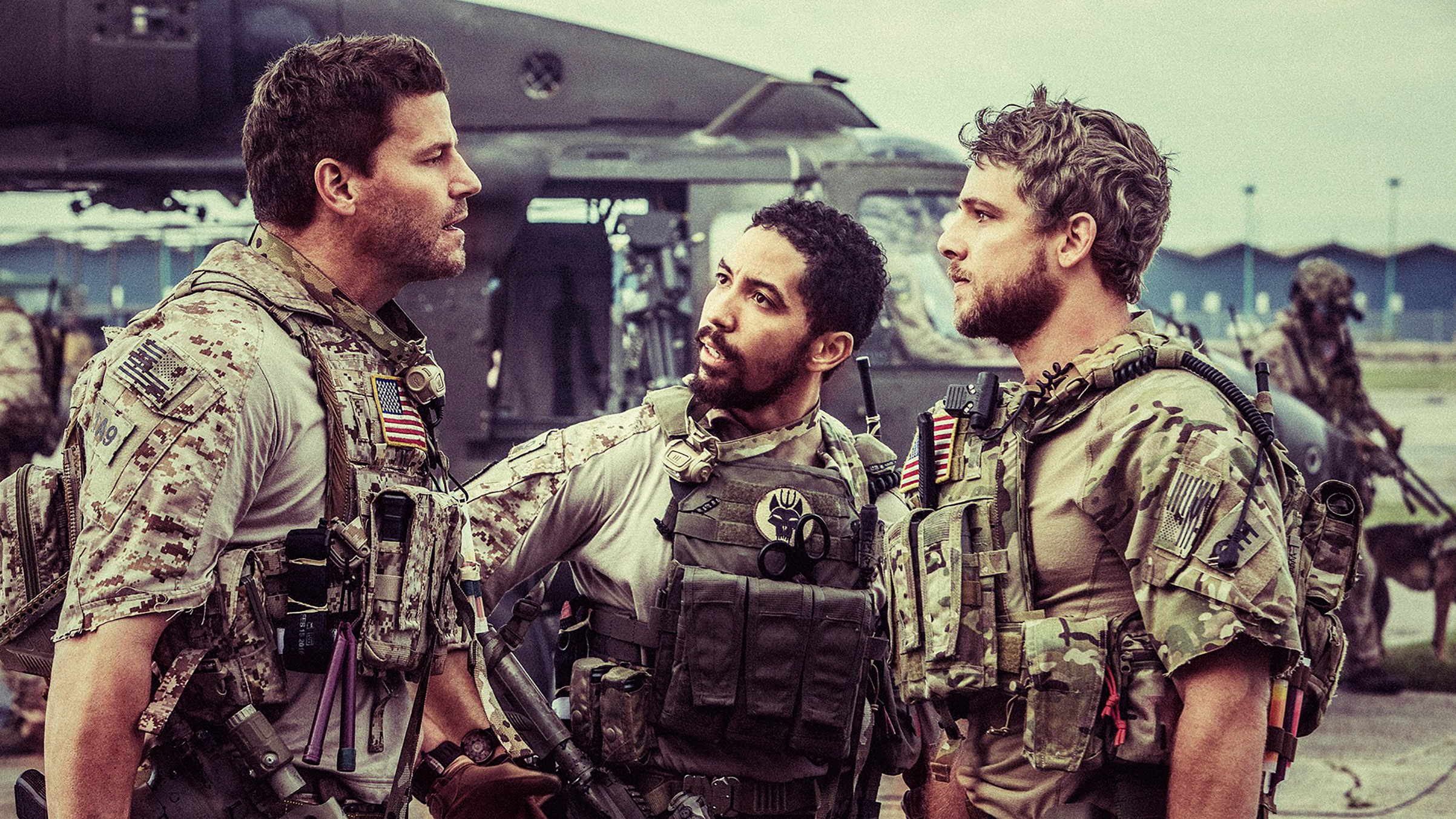 Boreanaz, left, and fellow members of his SEAL team