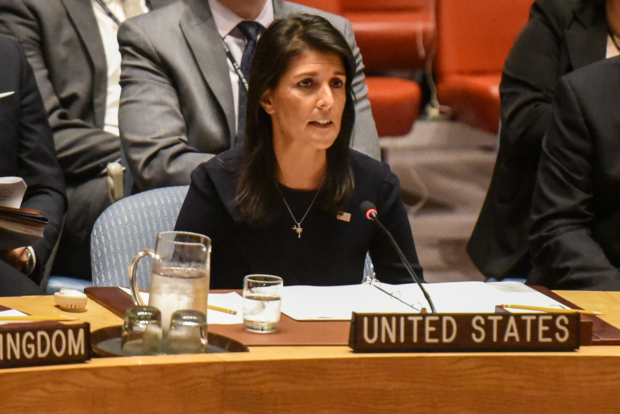 Ambassador to the UN, Nikki Haley, delivers remarks during a United Nations Security Council meeting on North Korea on Sept. 4, 2017 in New York City.