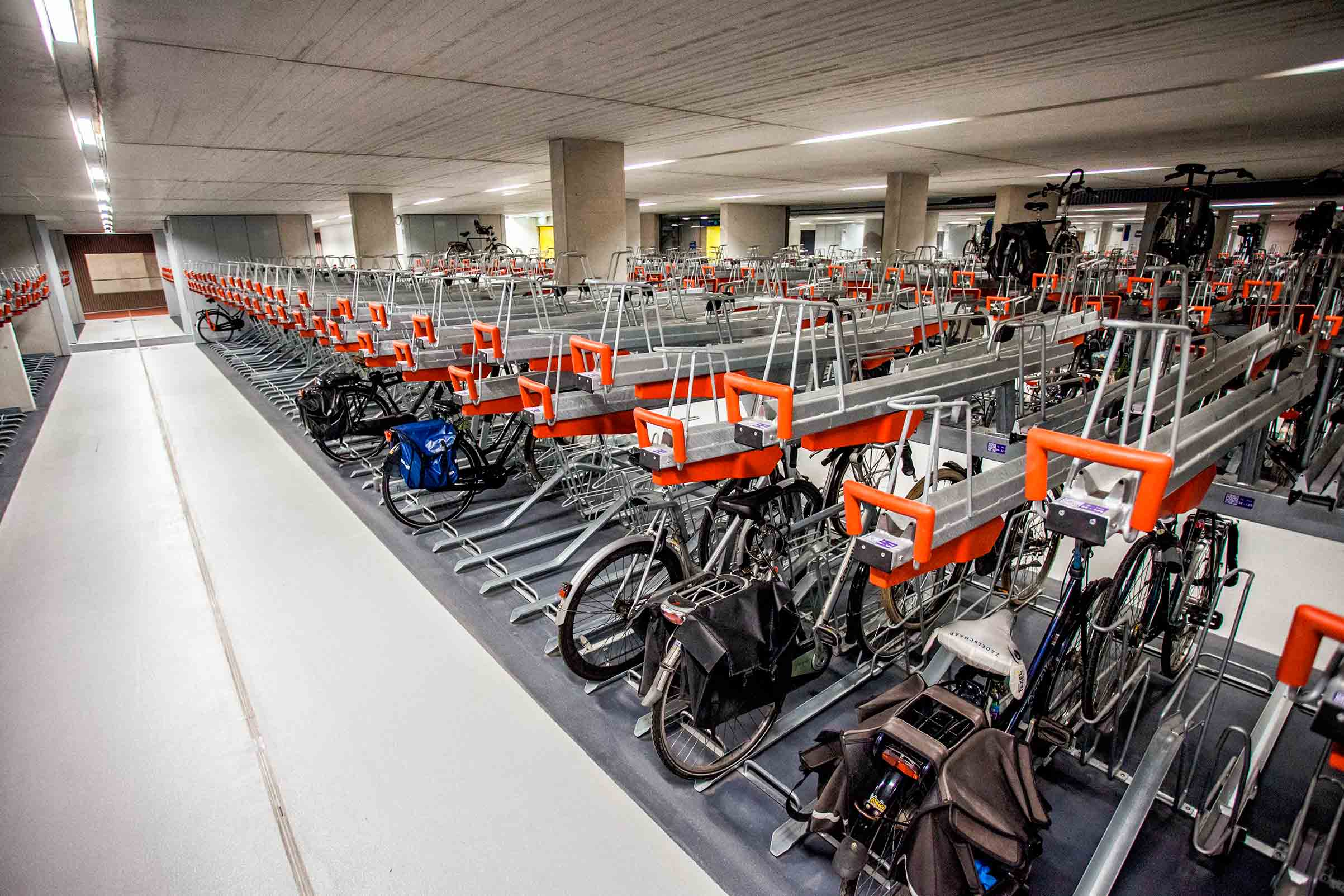 An interior view of part of the largest bicycle storage in Europe, at the Utrecht Central Station in Utrech, Netherlands, Aug. 7. The storage has a capacity of 6,000 bicycles and will be expanded to accomodate 12,500 at the end of 2018.