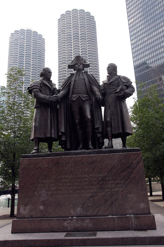 A statue of Robert Morris, George Washington and Haym Salomon sits on East Wacker Drive in Chicago on Sept. 5, 2009.