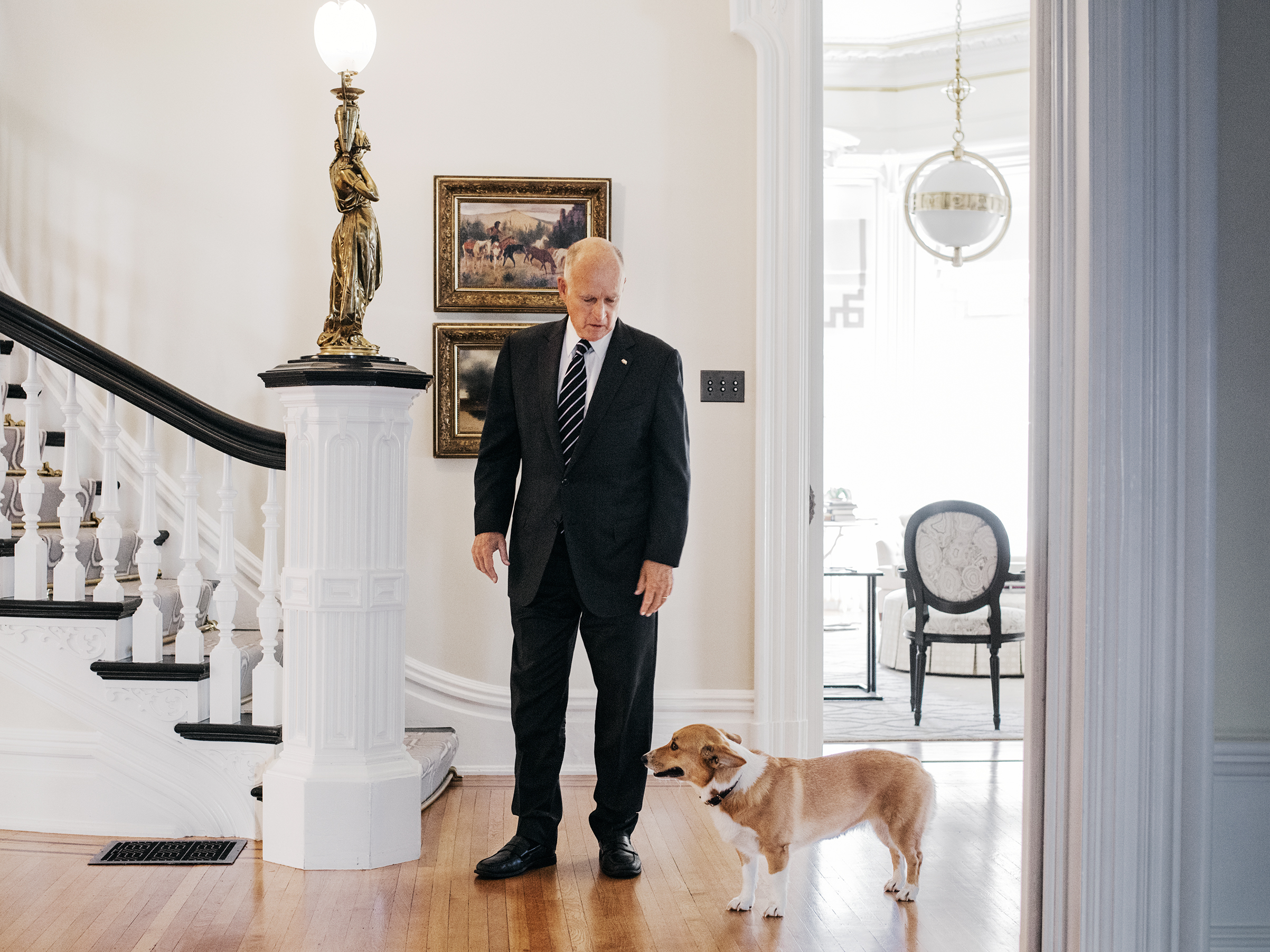 California Governor Jerry Brown, nearing the end of an unprecedented fourth term in office, stands in the governor's mansion in Sacramento