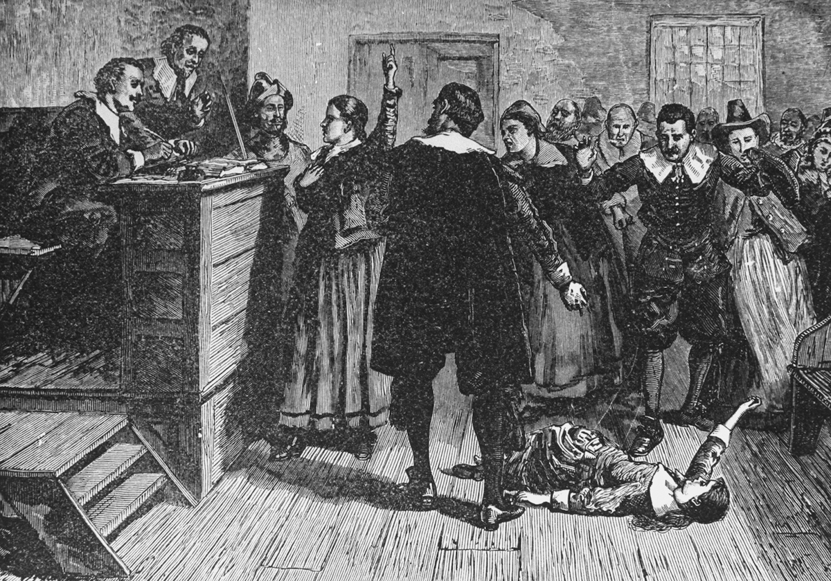 Engraving depicting the trial of a witch at Salem, Mass.