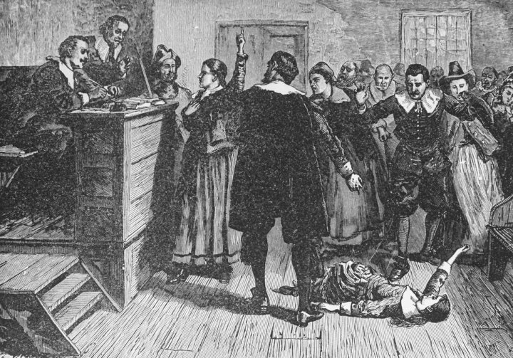 Engraving depicting the trial of a witch
