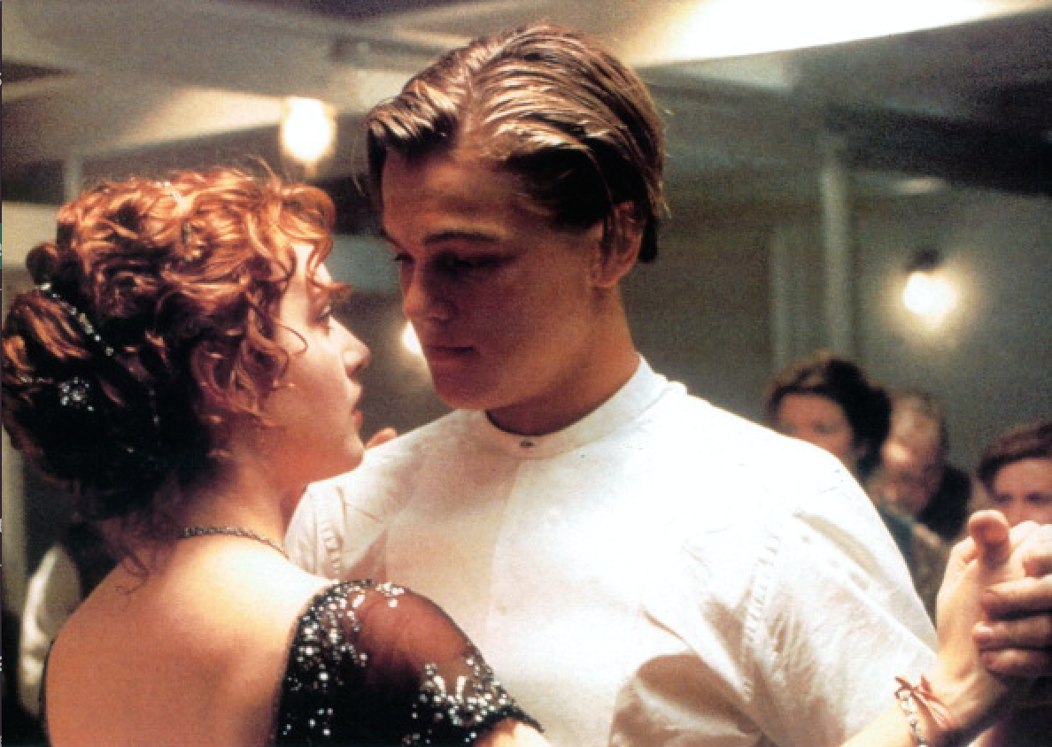 Kate Winslet and Leonardo DiCaprio dancing in a scene from Titanic