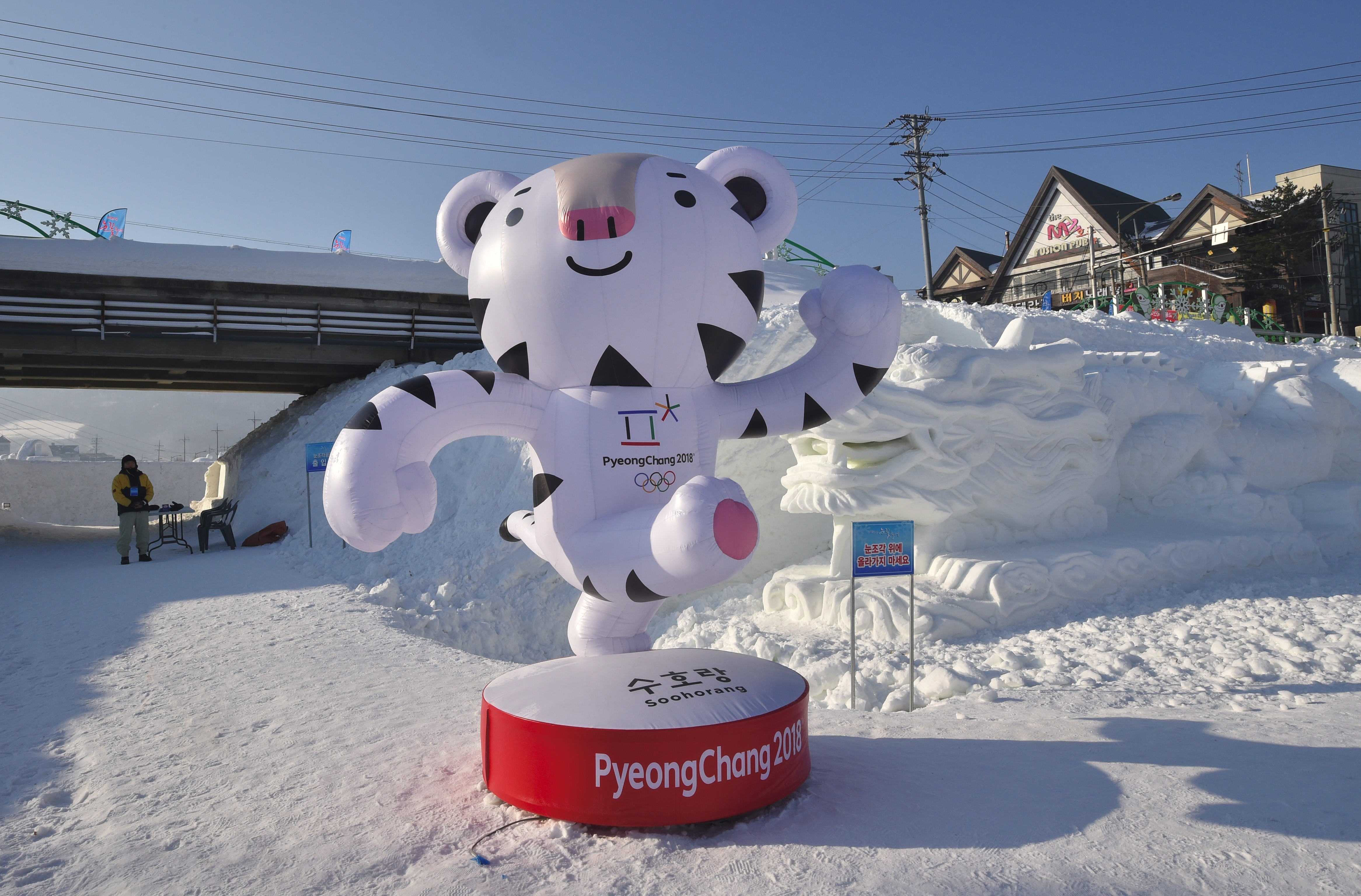 This photo taken February 4, 2017 shows the mascot for the 2018 Pyeongchang Winter Olympic Games, a white tiger named  Soohorang , in the town of Hoenggye in Pyeongchang.