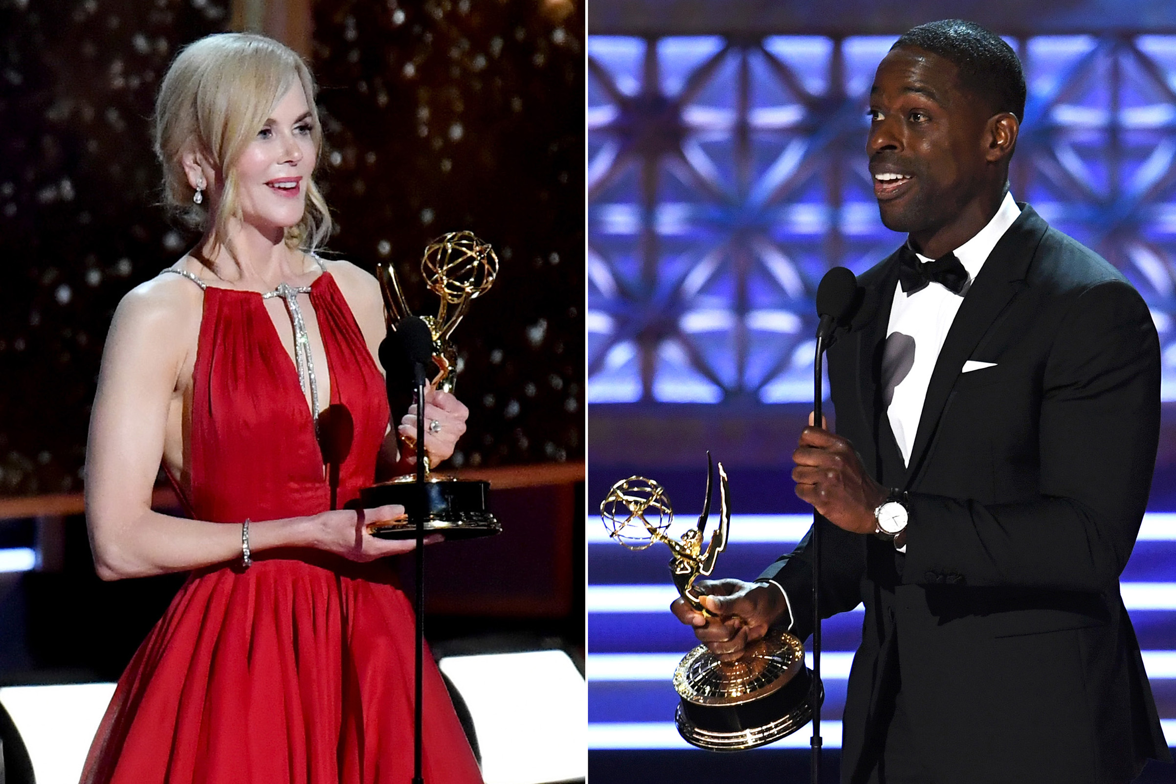 Nicole Kidman and Sterling K. Brown accept awards onstage during the 69th Annual Primetime Emmy Awards at Microsoft Theater  in Los Angeles, on Sept. 17, 2017.