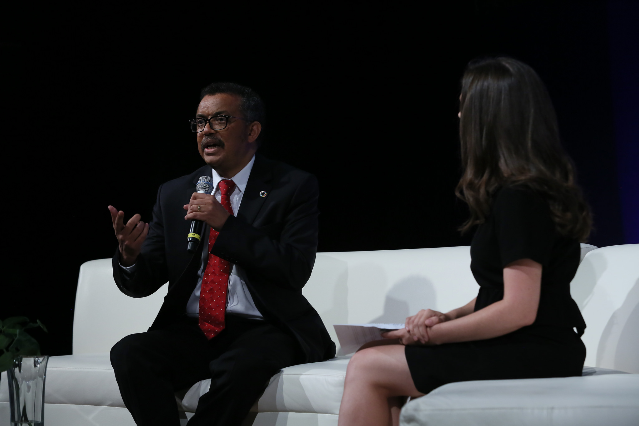 Dr. Tedros Adhanom Ghebreyesus, the director general of the World Health Organization (WHO), discusses universal health coverage at the Social Good Summit in New York City on Sept. 17.