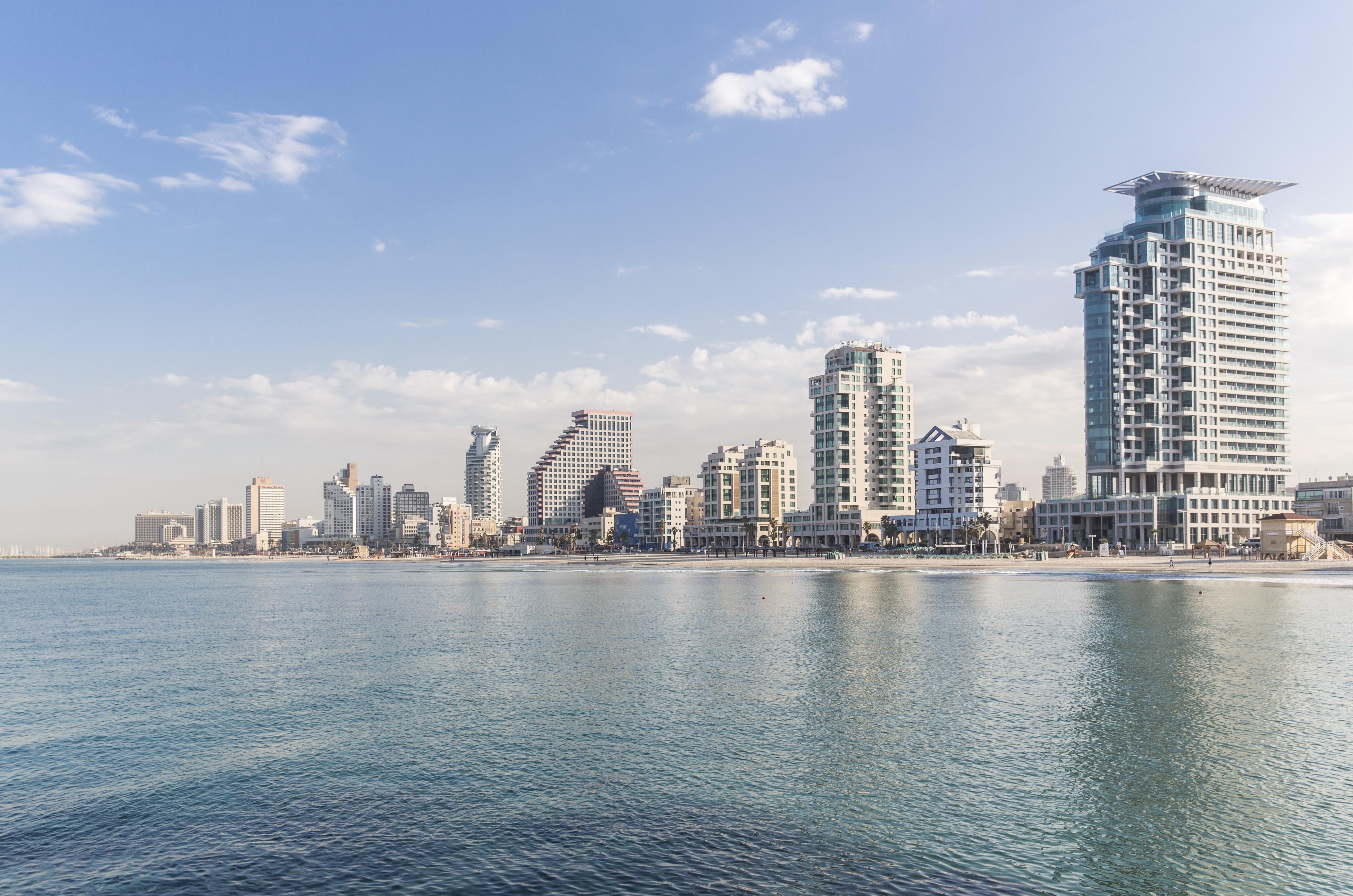Tel Aviv Skyline along the Mediterranean coast, Tel Aviv, Israel