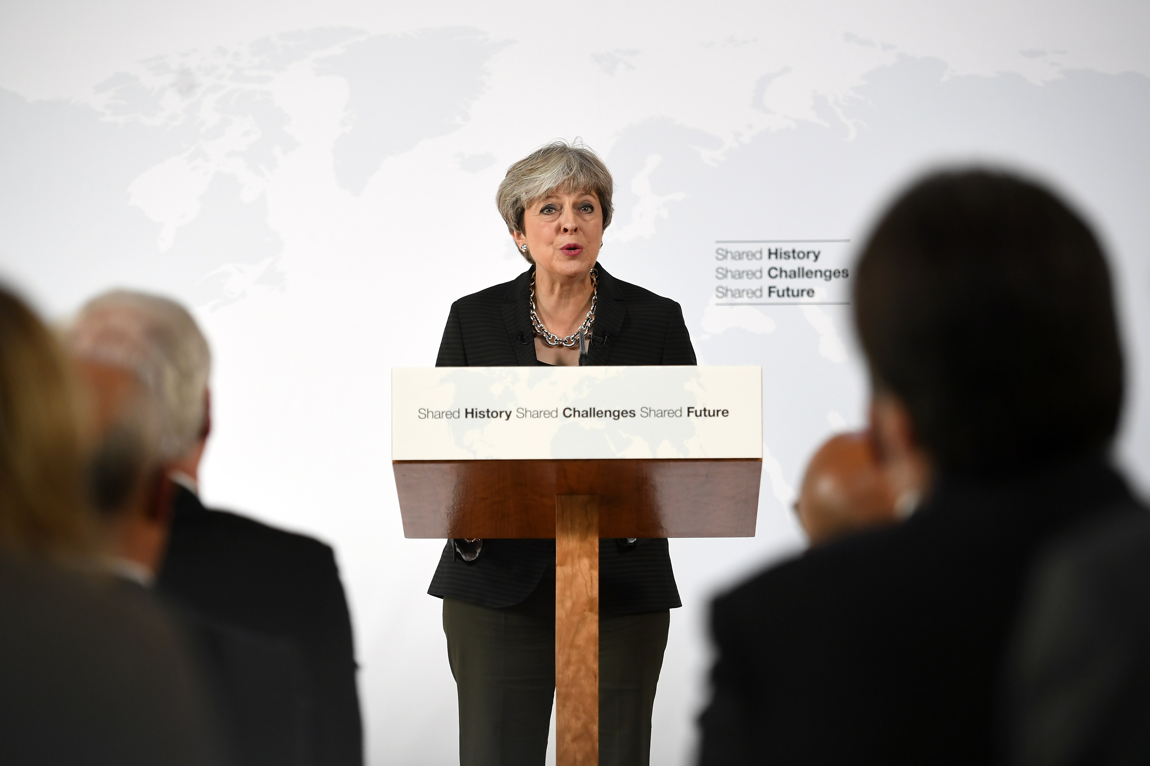 British Prime Minister Theresa May gives her landmark Brexit speech in Complesso Santa Maria Novella on September 22, 2017.