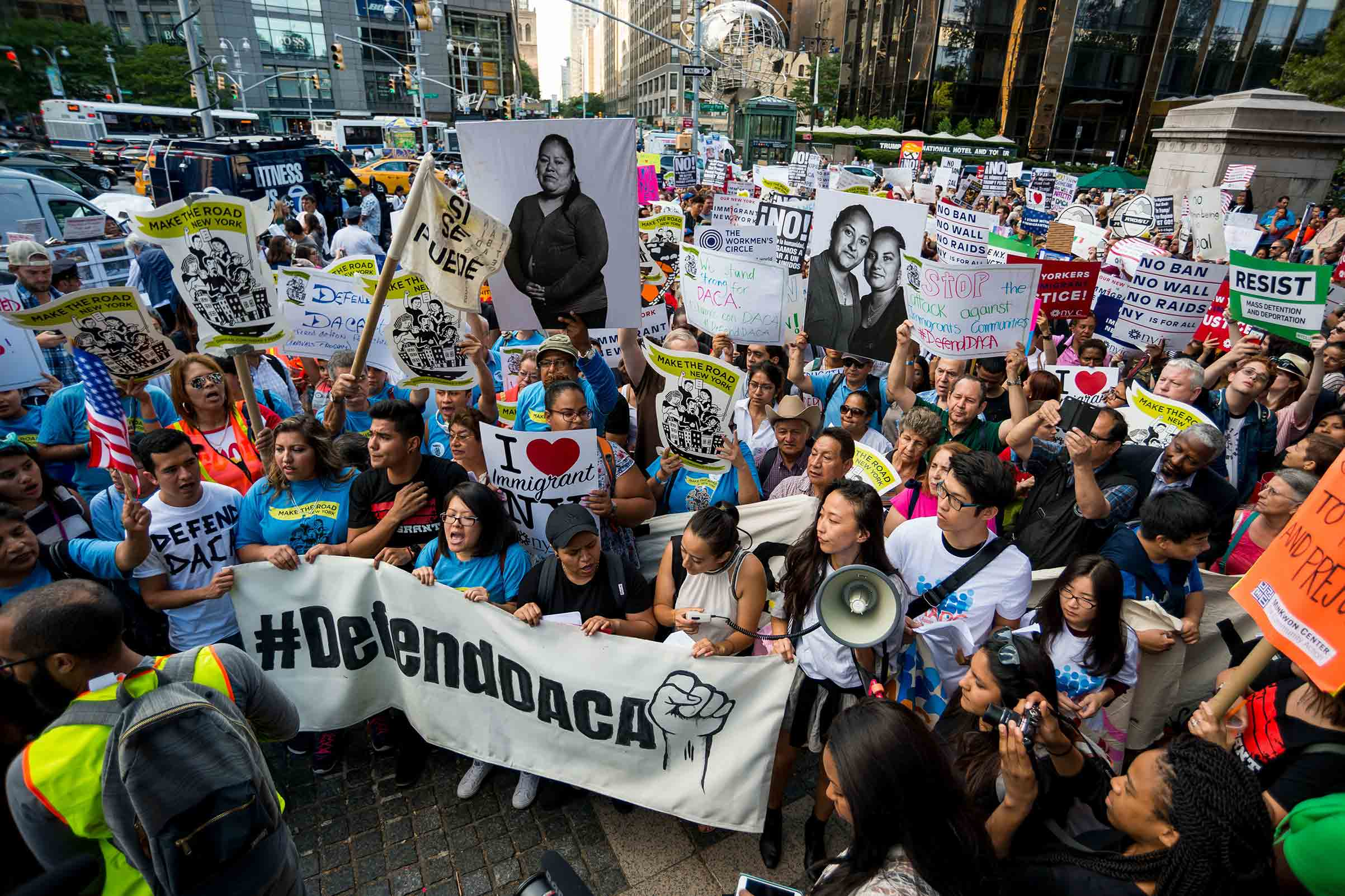 Activists rallied in Columbus Circle and marched from there to Trump Tower in protest of President Donald Trump's possible elimination of the Obama-era  Deferred Action for Childhood Arrivals  (DACA) which curtails deportation of an estimated 800,000 undocumented immigrants.