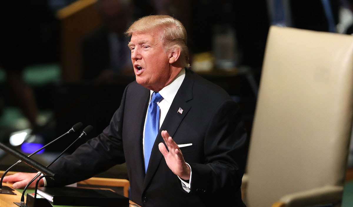 President Donald Trump speaks to world leaders at the 72nd United Nations (UN) General Assembly at U.N. headquarters in New York City on Sept. 19, 2017.