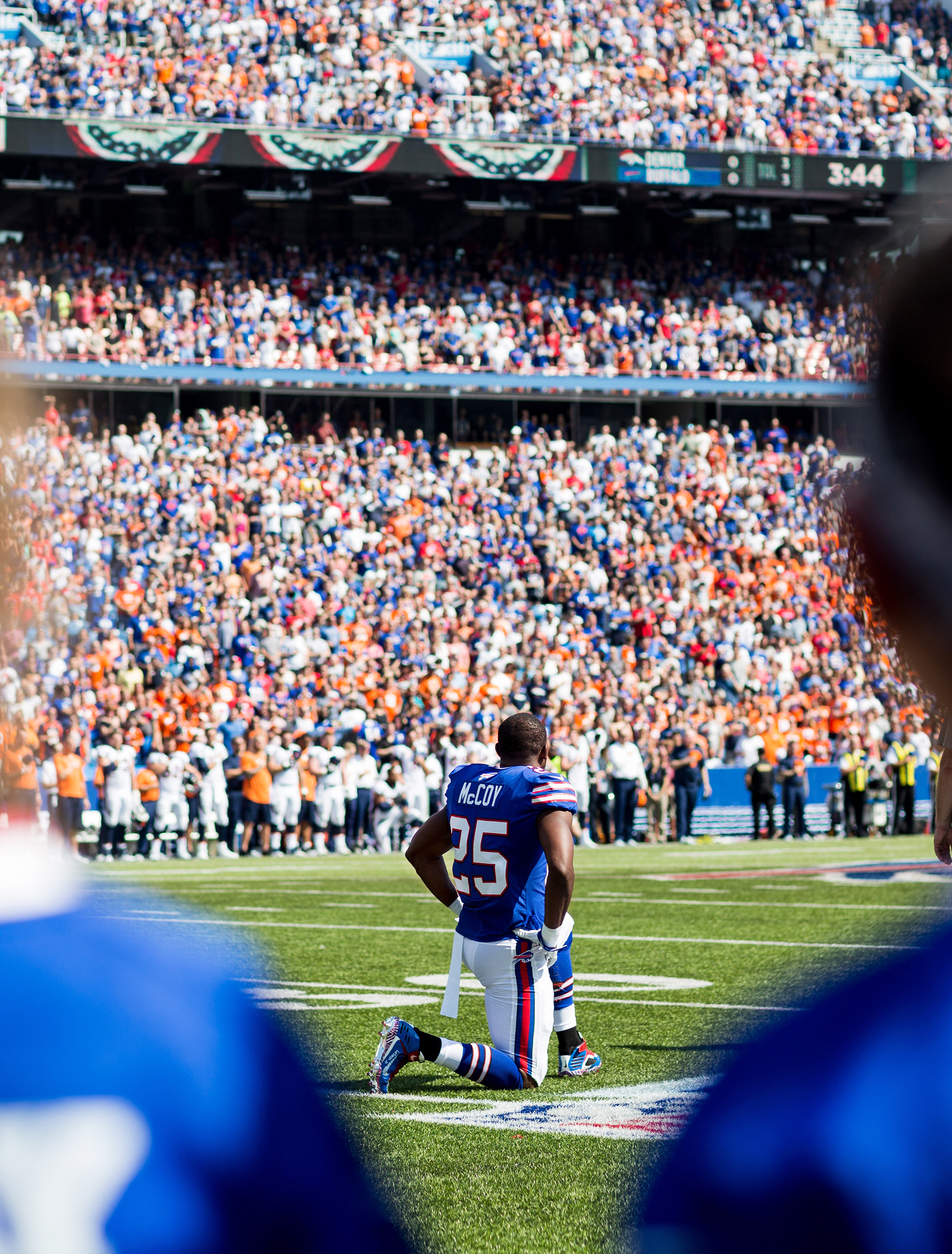 LeSean McCoy of the Buffalo Bills takes a knee during the national anthem before playing the Denver Broncos in Orchard Park, N.Y., on Sept. 24