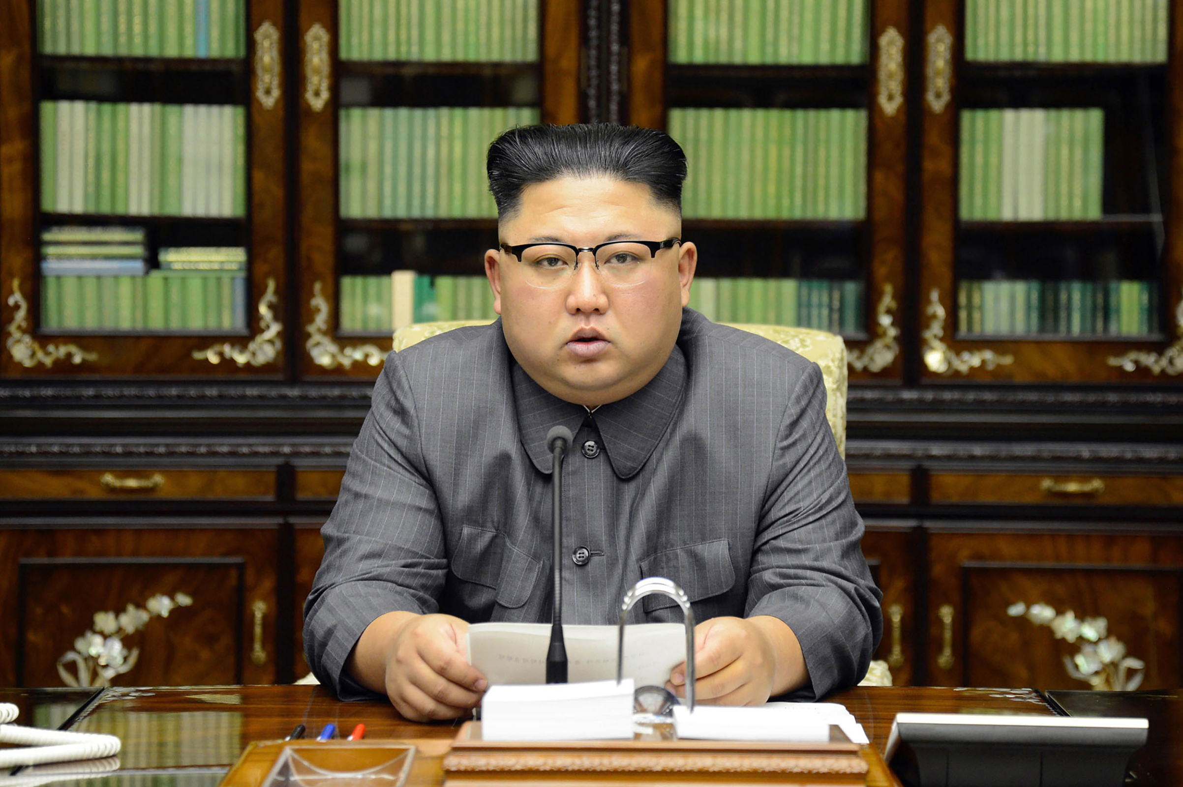 North Korean leader Kim Jong-Un delivering a statement in Pyongyan as regards to a speech made by the president of the United States of America at the UN General Assembly.