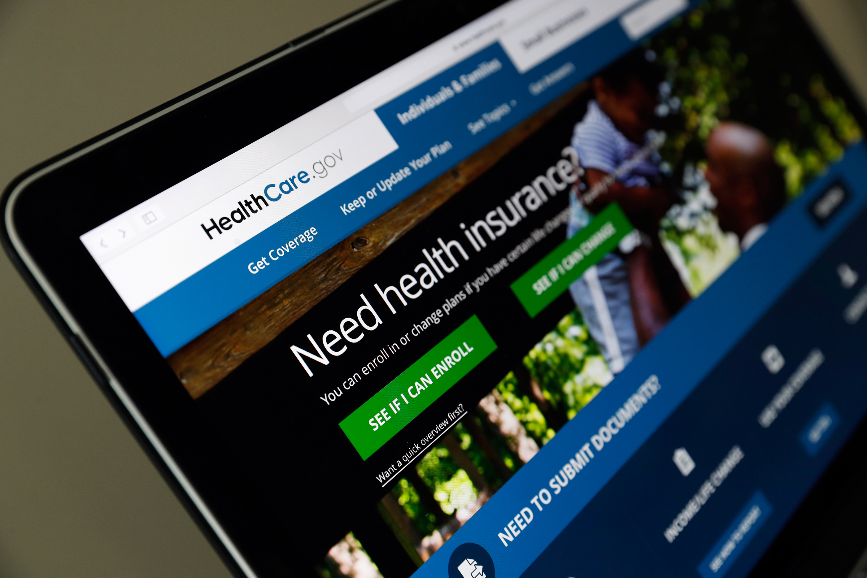 In this May 18, 2017 file photo, the Healthcare.gov website is seen on a laptop computer, in Washington. Former Obama administration officials say they're launching a private campaign to encourage people to sign up for coverage next year under the Affordable Care Act. With the start of open enrollment just weeks away on Nov. 1, the Trump administration has slashed  Obamacare's  ad budget, as well as grants to outside organizations that are supposed to help consumers sign up.