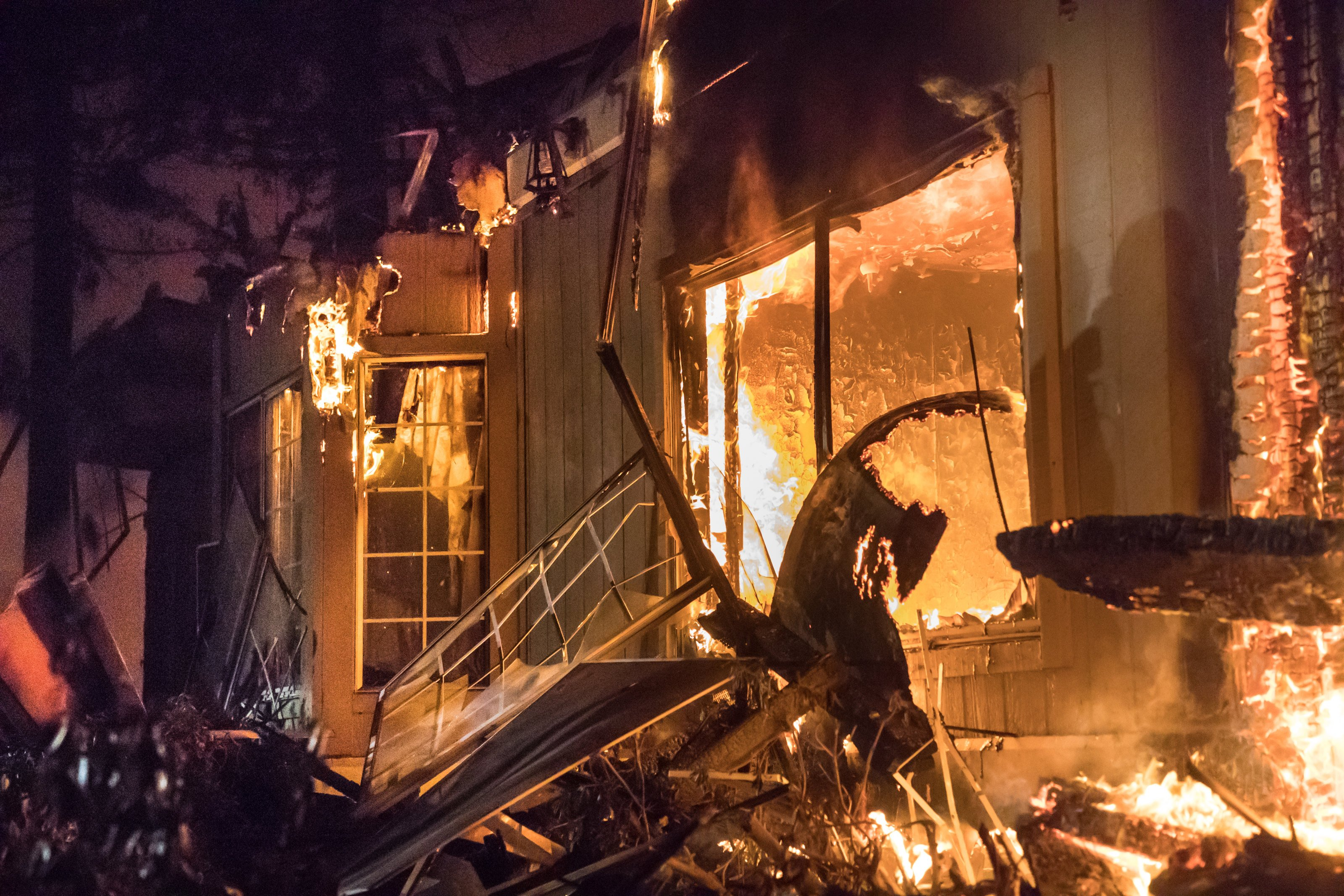 Santa Rosa Hilton Hotel burns to the ground on the evening of Monday, Oct. 9, 2017 in Santa Rosa, Calif.