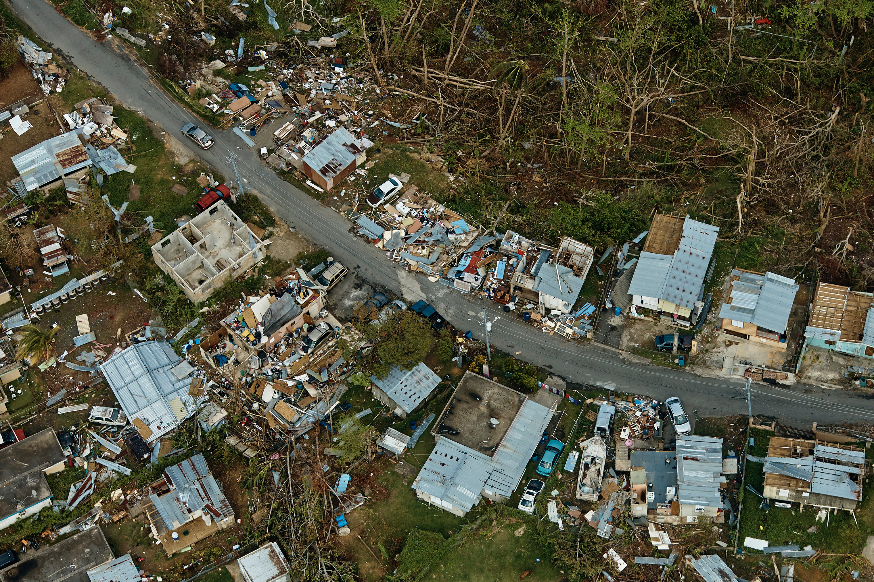 The view from a helicopter over Toa Alta, a town outside San Juan, Puerto Rico, on Oct. 6, 2017.