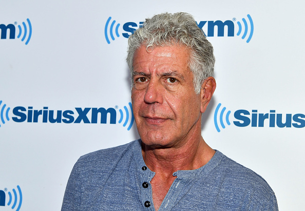 Anthony Bourdain visits SiriusXM Studios on October 5, 2017 in New York City.