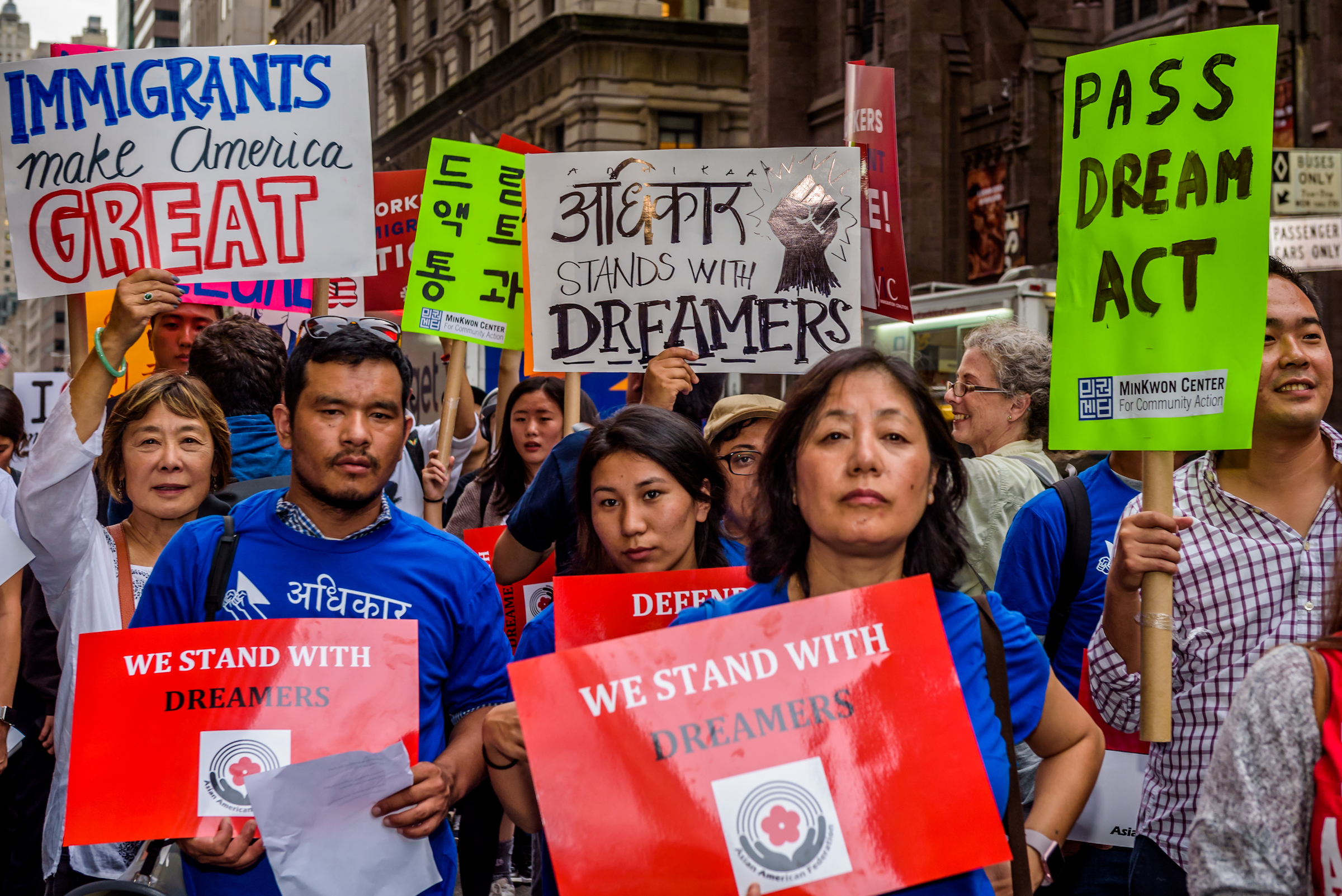 The Asian American Federation partnered with leading immigrant advocacy groups in New York to hold the Asian-American Dreamer rally outside Trump Tower in Manhattan on October 5, 2017.