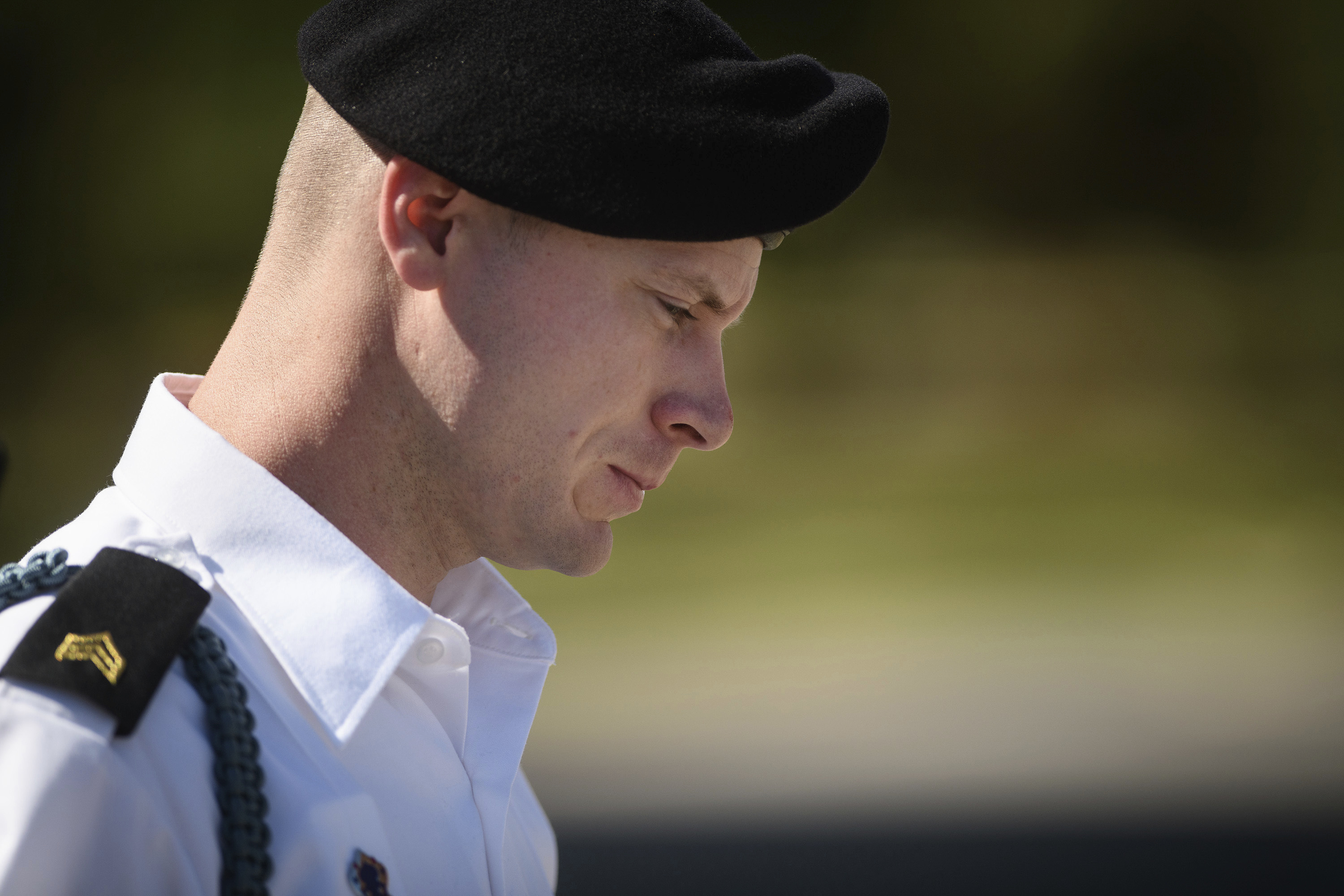 In this Sept. 27, 2017, file photo, Army Sgt. Bowe Bergdahl leaves a motions hearing during a lunch break in Fort Bragg, N.C.