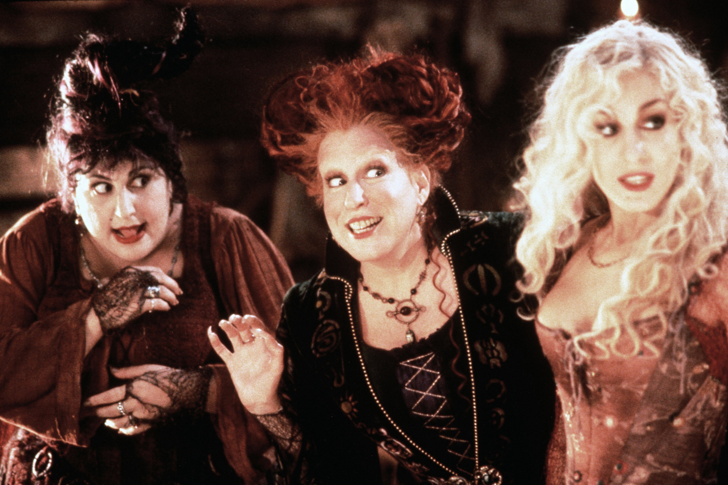 Kathy Najimy, Bette Midler, and Sarah Jessica Parker in Hocus Pocus, 1993.