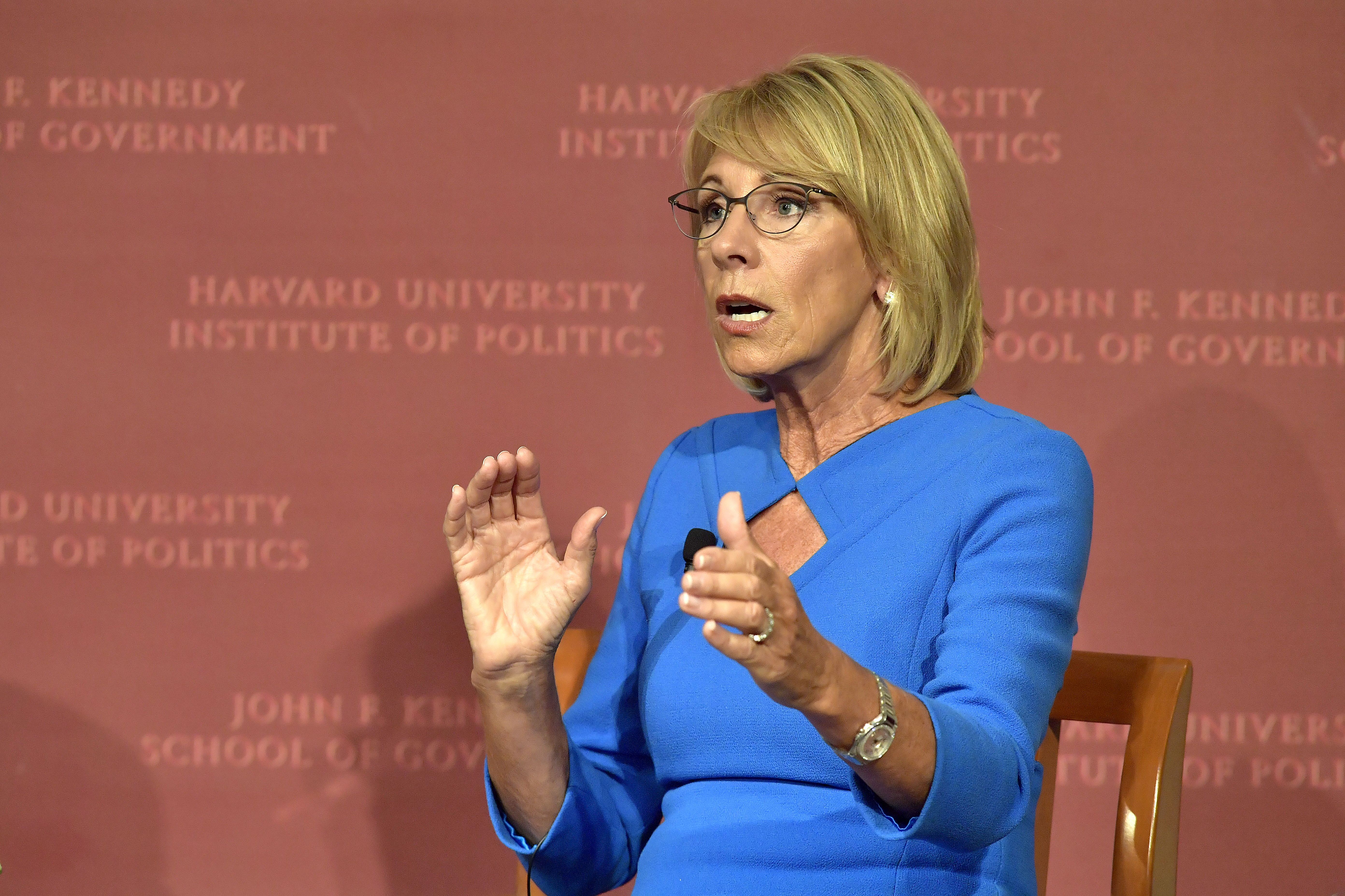 Education Secretary Betsy DeVos speaks at the Harvard University John F. Kennedy Jr. Forum on  A Conversation On Empowering Parents  moderated by Paul Peterson on Sept. 28, 2017 in Cambridge, Massachusetts.
