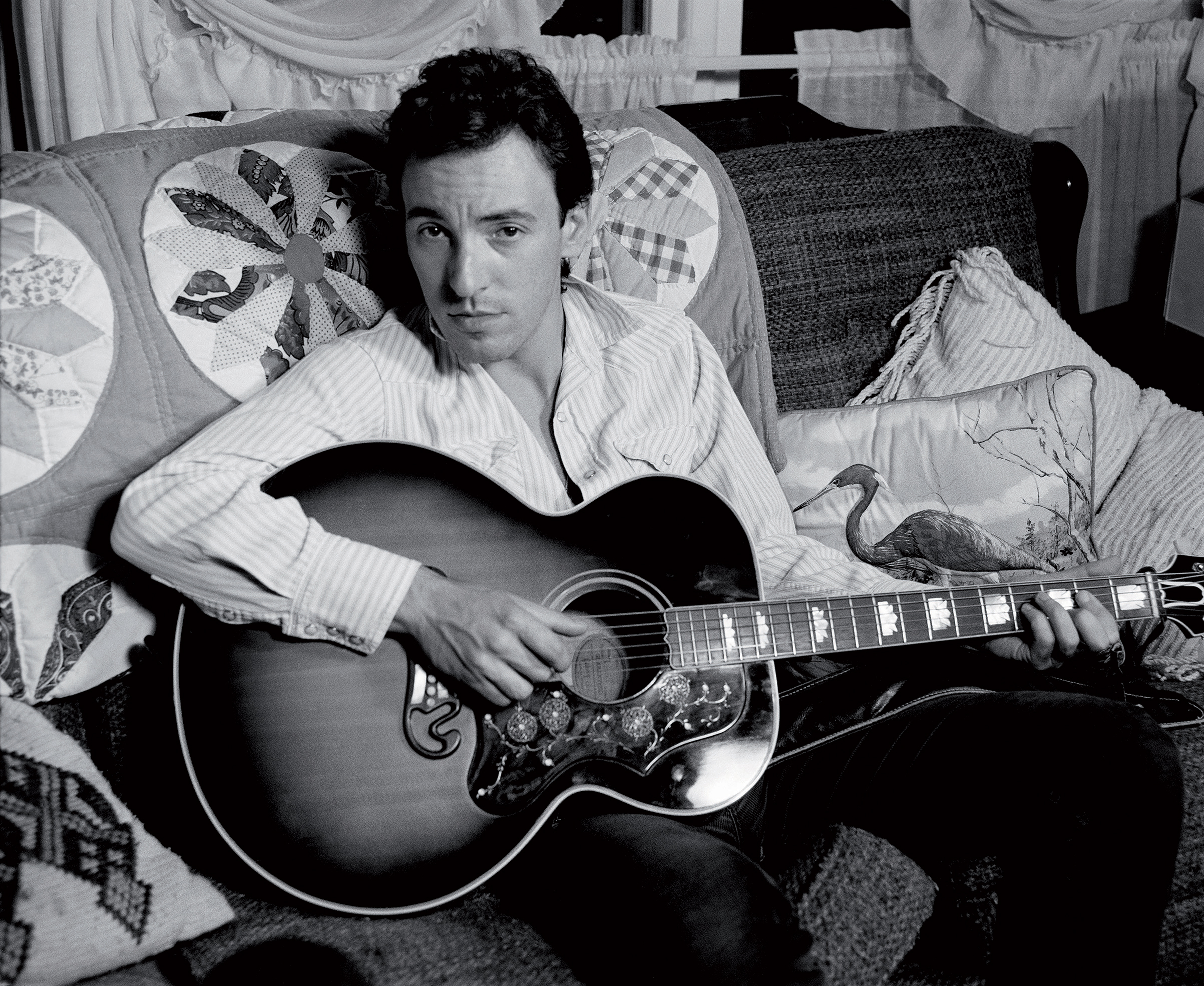Bruce Springsteen in the house he rented in                               1982 in Monmouth County, NJ, to write and                               record his first solo album  Nebraska .