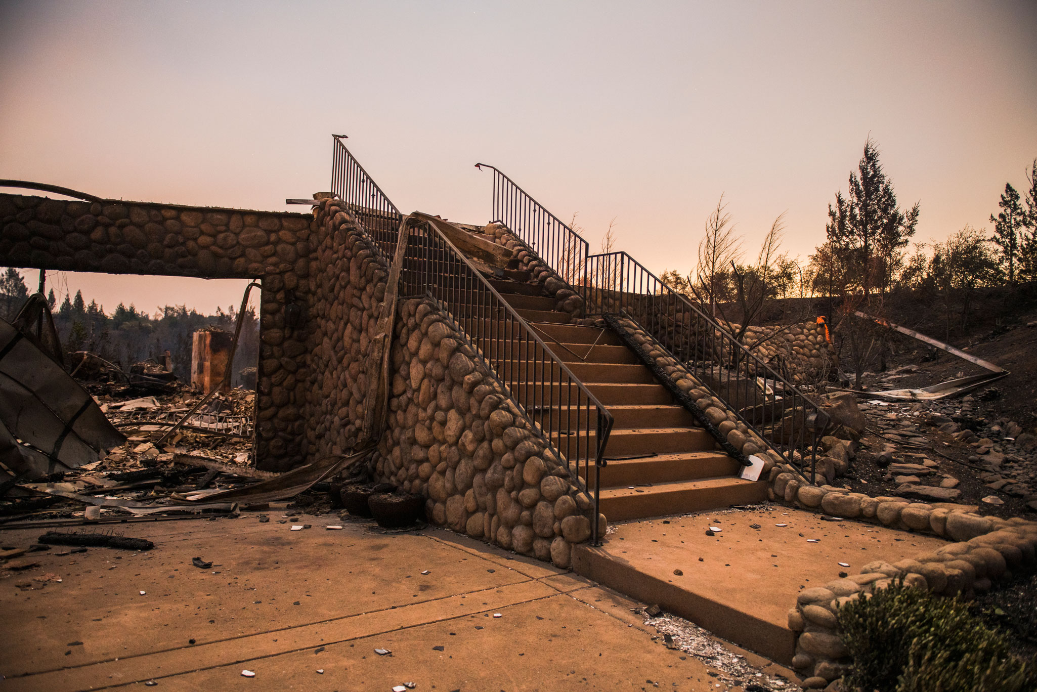The charred stairs of a house in Santa Rosa, Calif on Oct. 10, 2017.