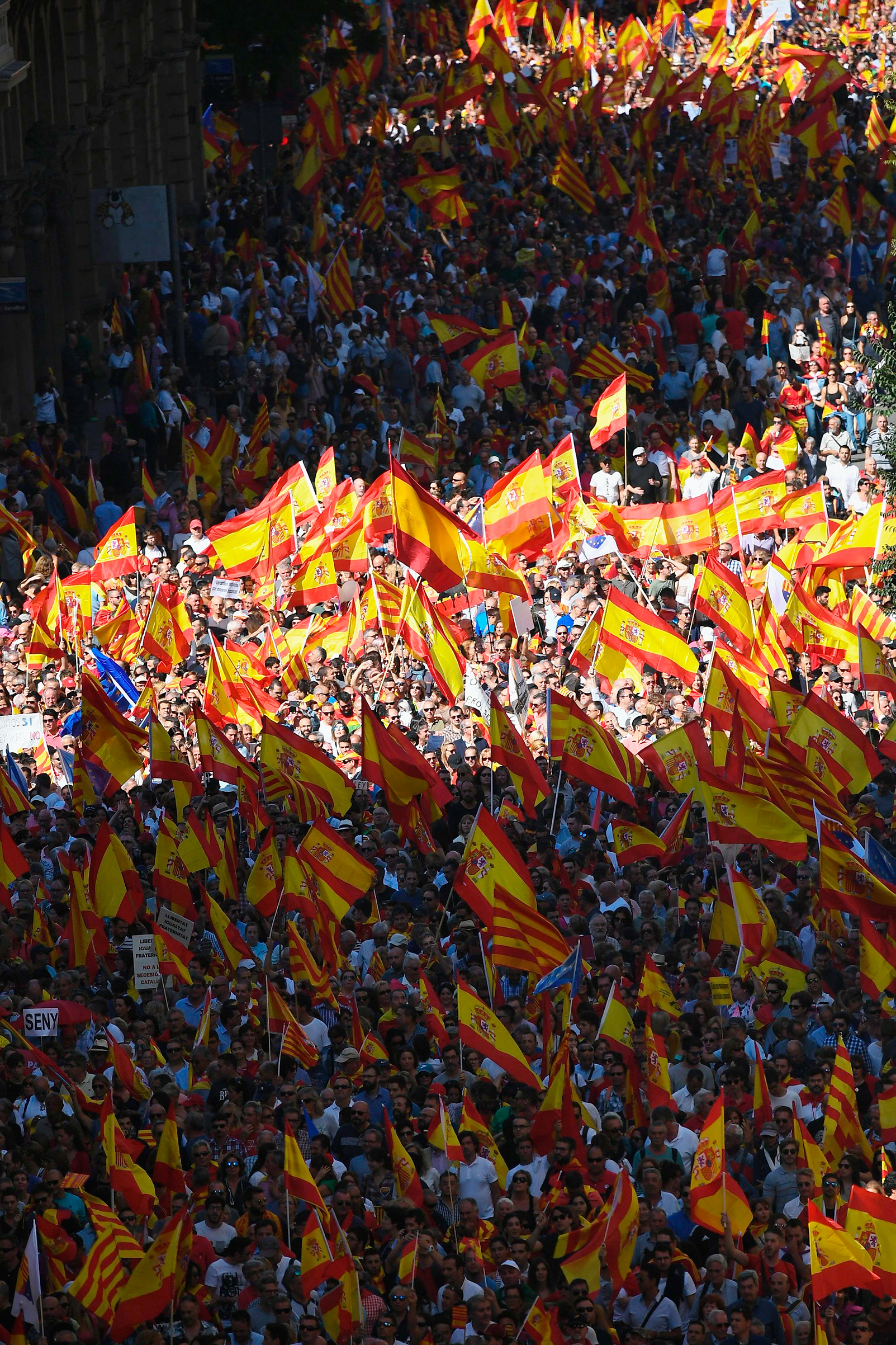 The so-called silent majority rallies in opposition to independence from Spain in Barcelona on Oct. 8