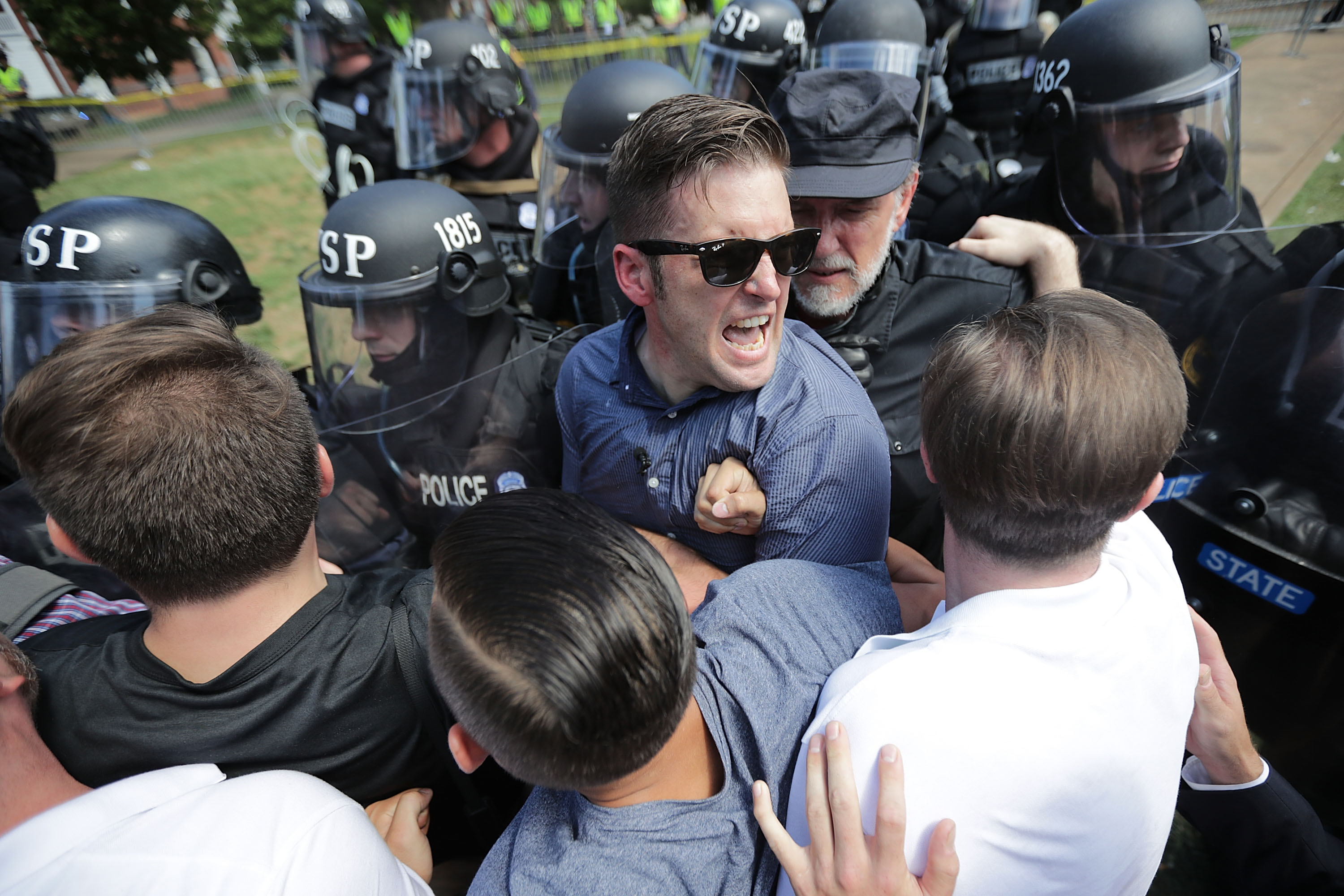 White nationalist Richard Spencer and his supporters clash with Virginia State Police in Charlottesville, VA. on Aug. 12, 2017
