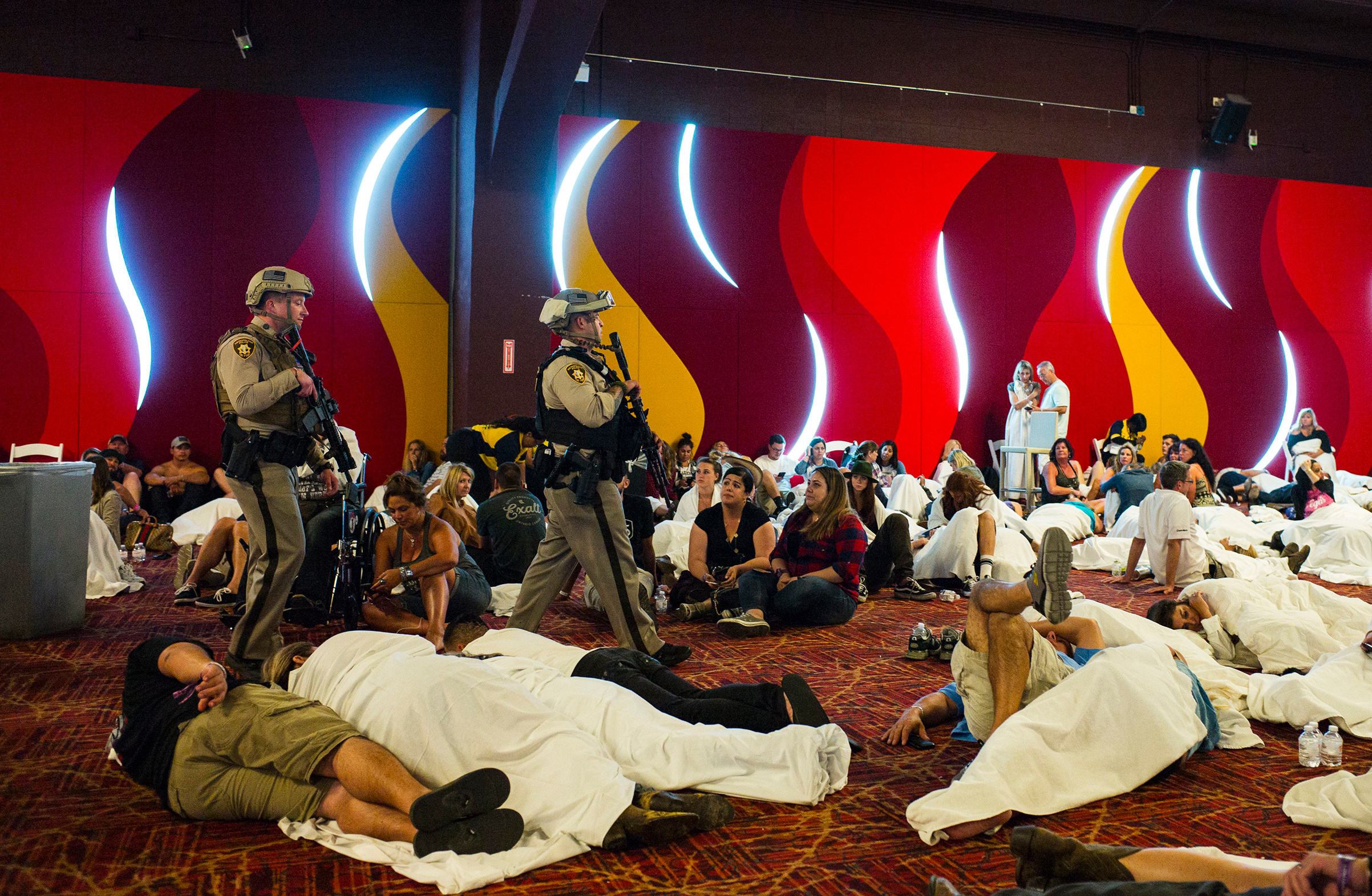 Authorities sweep through a part of the Tropicana during a lockdown following an active shooter situation on the Las Vegas Strip on Oct. 2, 2017.