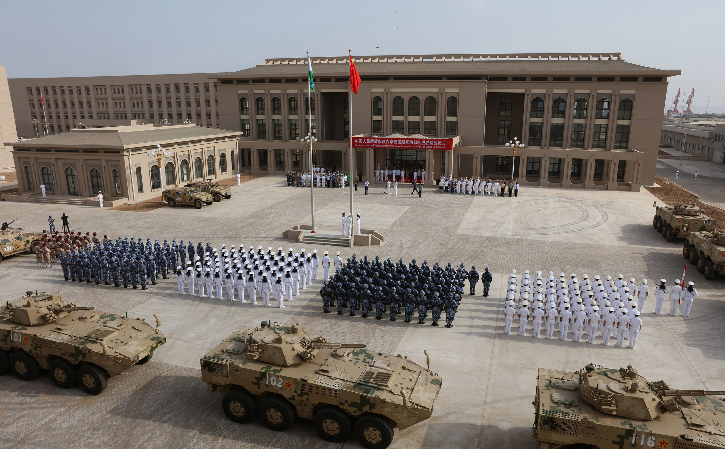 The opening ceremony of China's new military base, its first overseas, in Djibouti on Aug. 1, 2017.