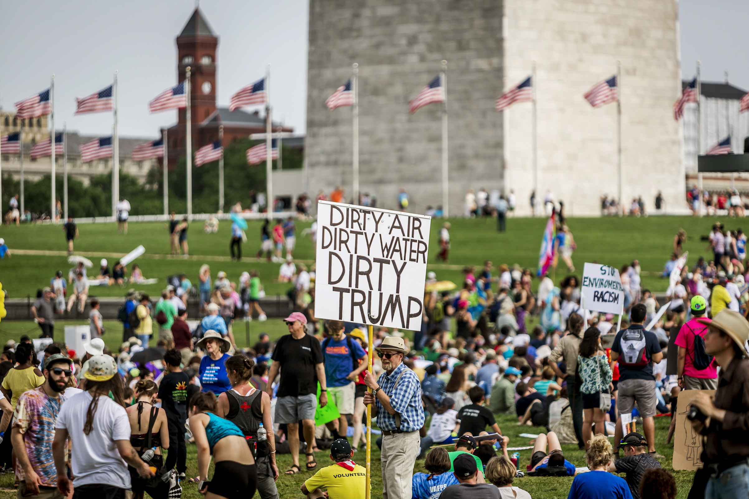 Environmental activists protest on the National Mall on April 29.