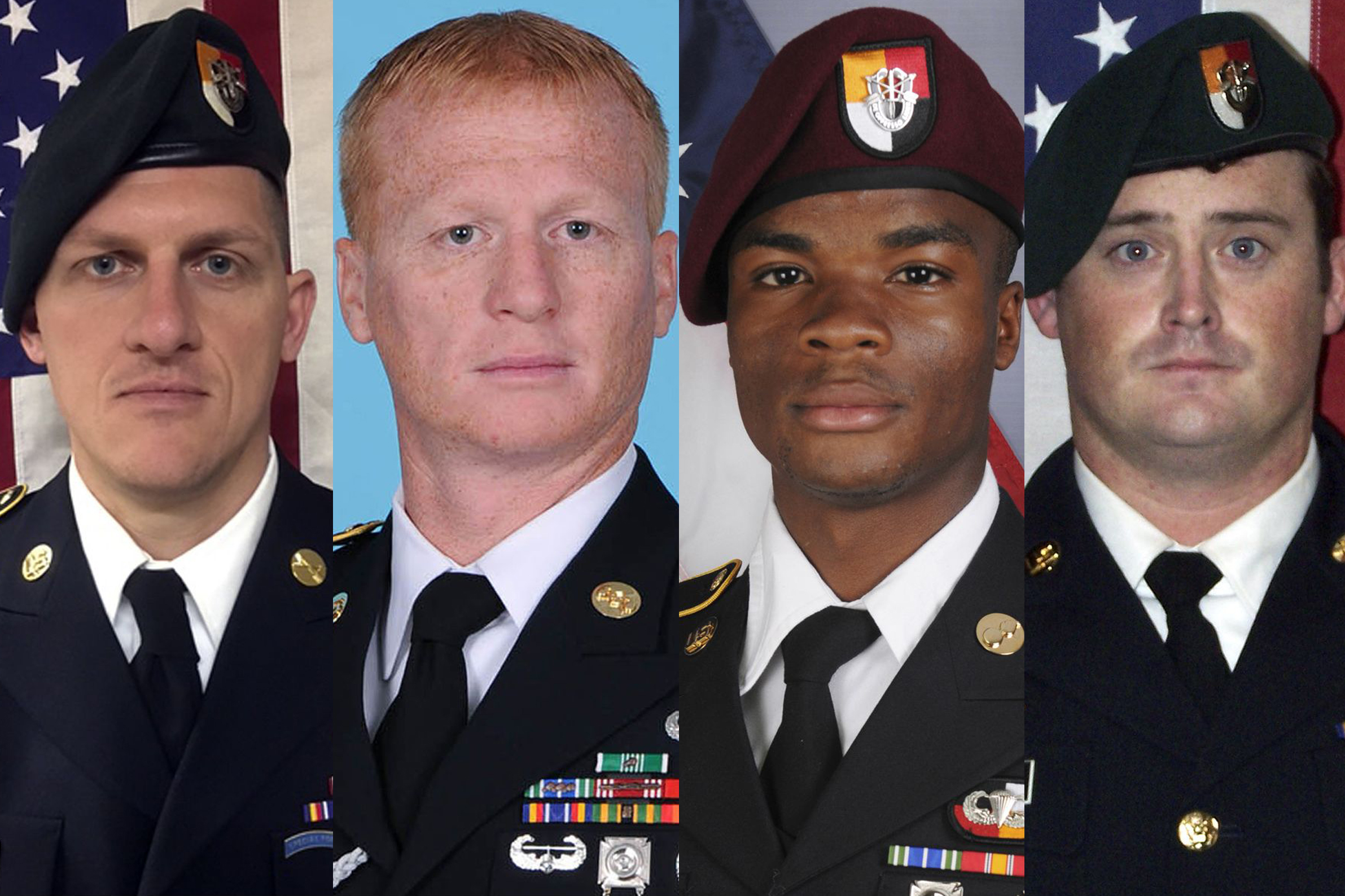 These images provided by the U.S. Army show, from left, Staff Sgt. Bryan C. Black, 35, of Puyallup, Wash.; Staff Sgt. Jeremiah W. Johnson, 39, of Springboro, Ohio; Sgt. La David Johnson of Miami Gardens, Fla.; and Staff Sgt. Dustin M. Wright, 29, of Lyons, Ga. All four were killed in Niger, when a joint patrol of American and Niger forces was ambushed by militants believed linked to the Islamic State group