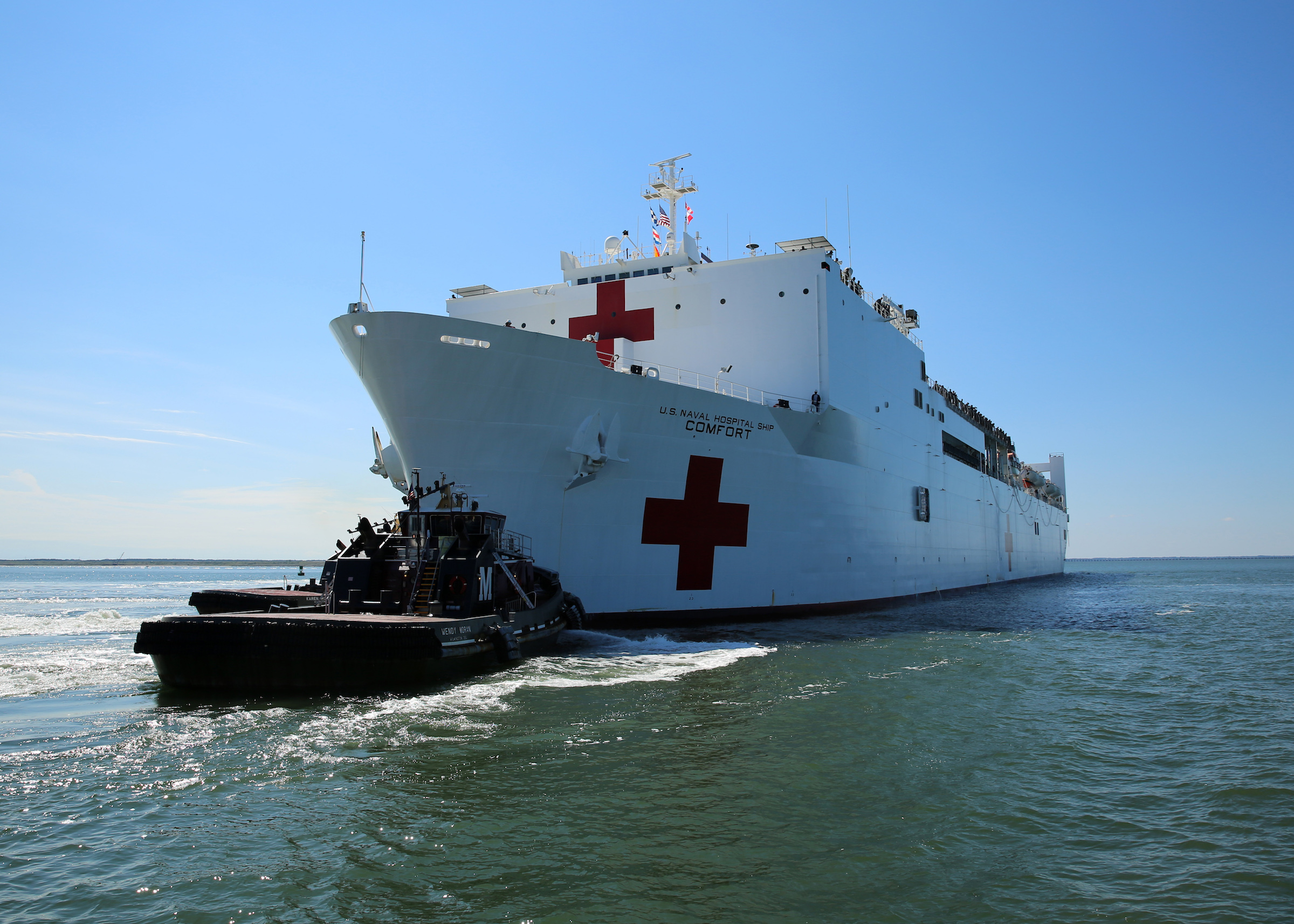 The Military Sealift Command hospital ship USNS Comfort departs Naval Station Norfolk to support hurricane relief efforts in Puerto Rico.