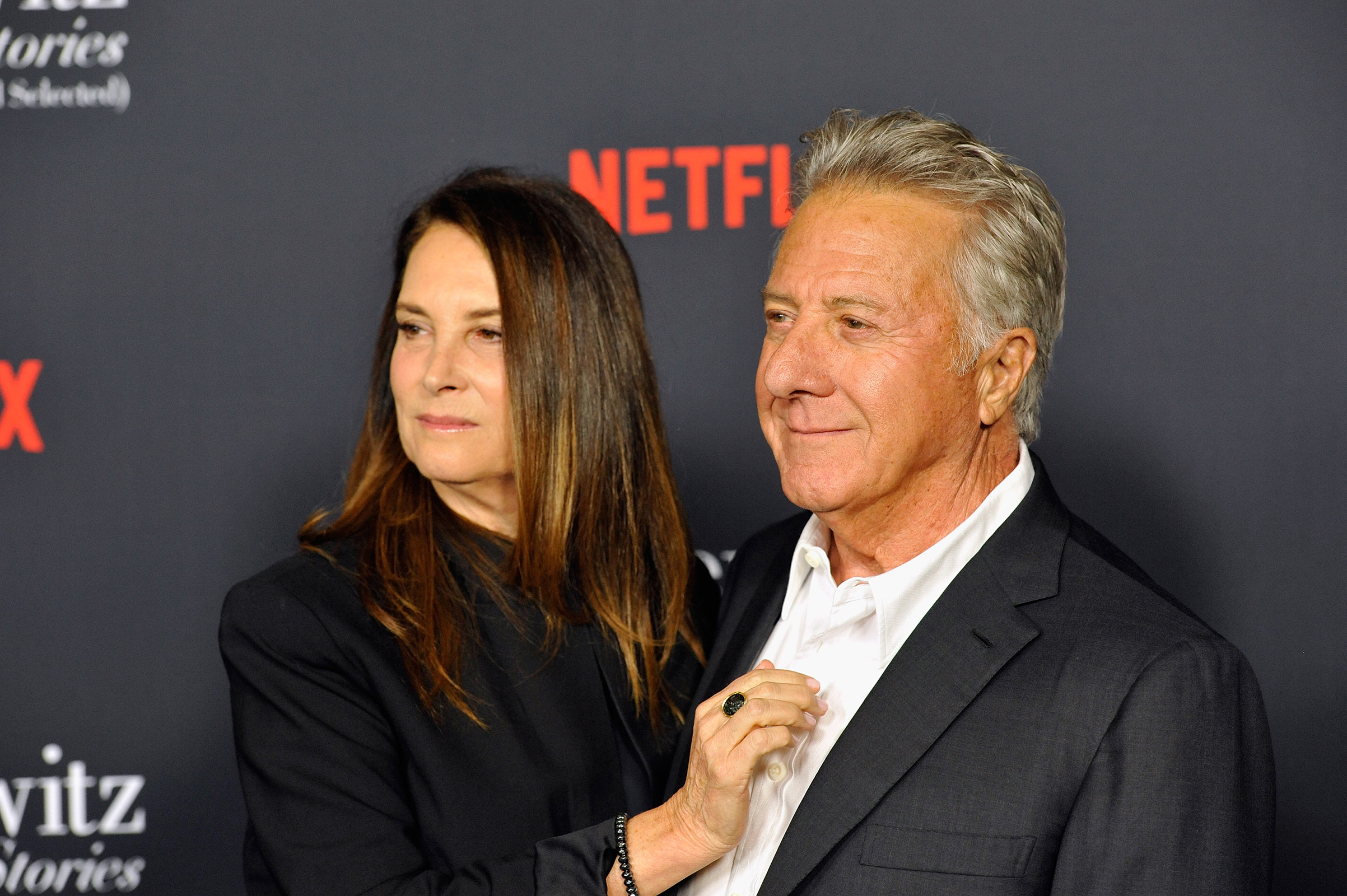 Lisa Hoffman and Dustin Hoffman attend a screening of Netflix's  The Meyerowitz Stories (New and Selected)  at Directors Guild Of America on Oct. 11, 2017 in Los Angeles.