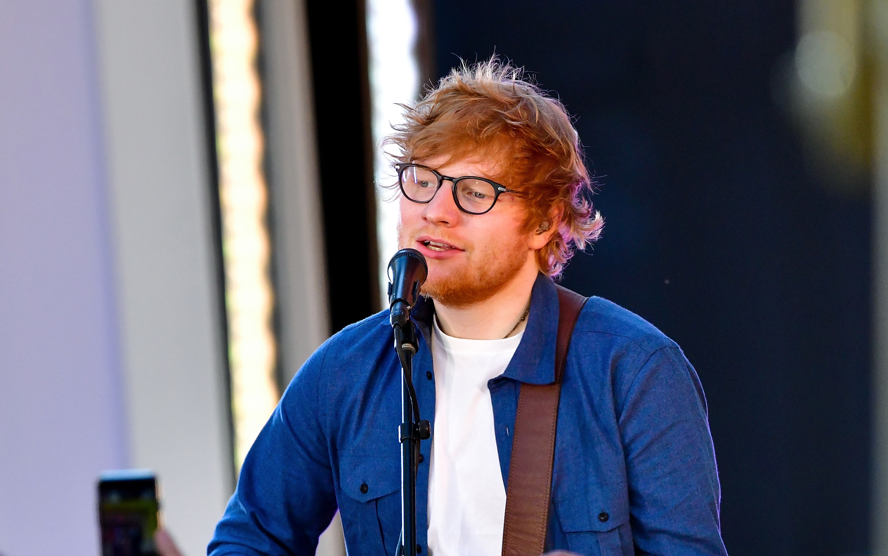 Ed Sheeran performs in Times Square for MTV's  TRL  on October 2, 2017 in New York City.
