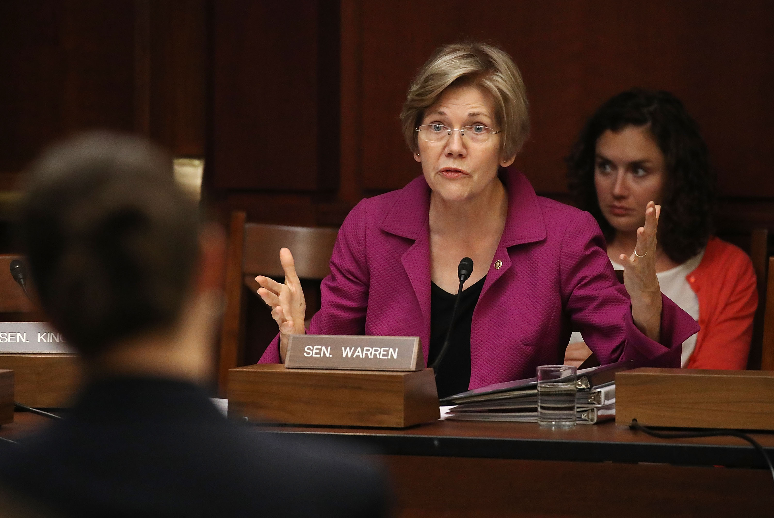 Sen. Elizabeth Warren (D-MA) speaks during the Democratic Policy and Communications Committee hearing in the Capitol building on July 19, 2017 in Washington, DC.