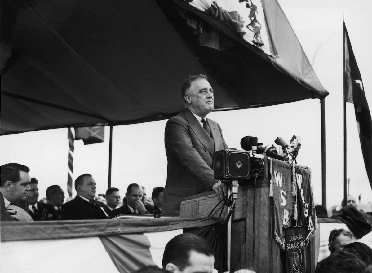 President Franklin Roosevelt speaks at the dedication of Roosevelt Square in Gainsville, Ga., in 1938