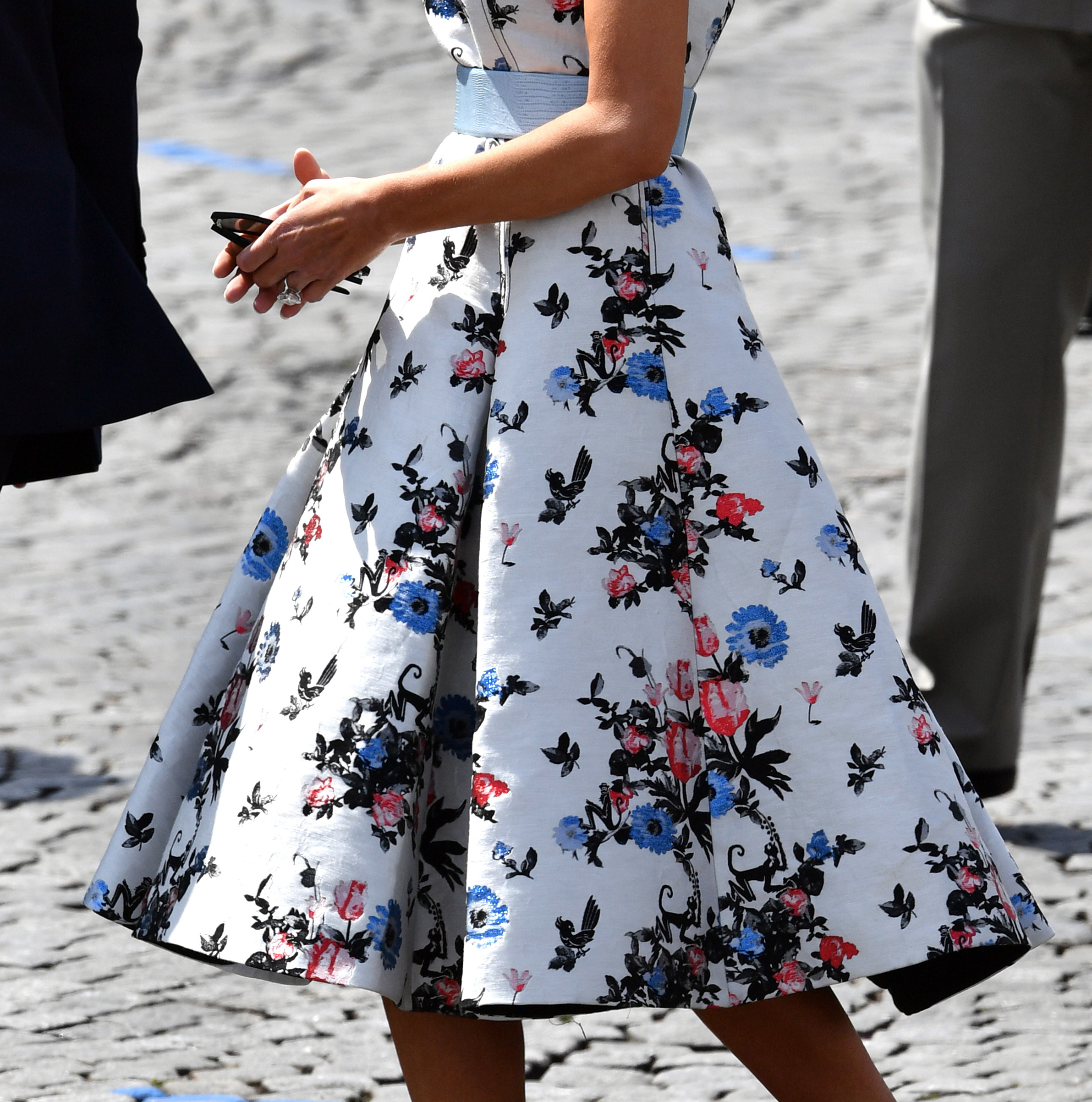 A section of First lady Melania Trump's Valentino dress as she attends the annual Bastille Day military parade along Avenue des Champs-Elysees in Paris, France on July 14, 2017.