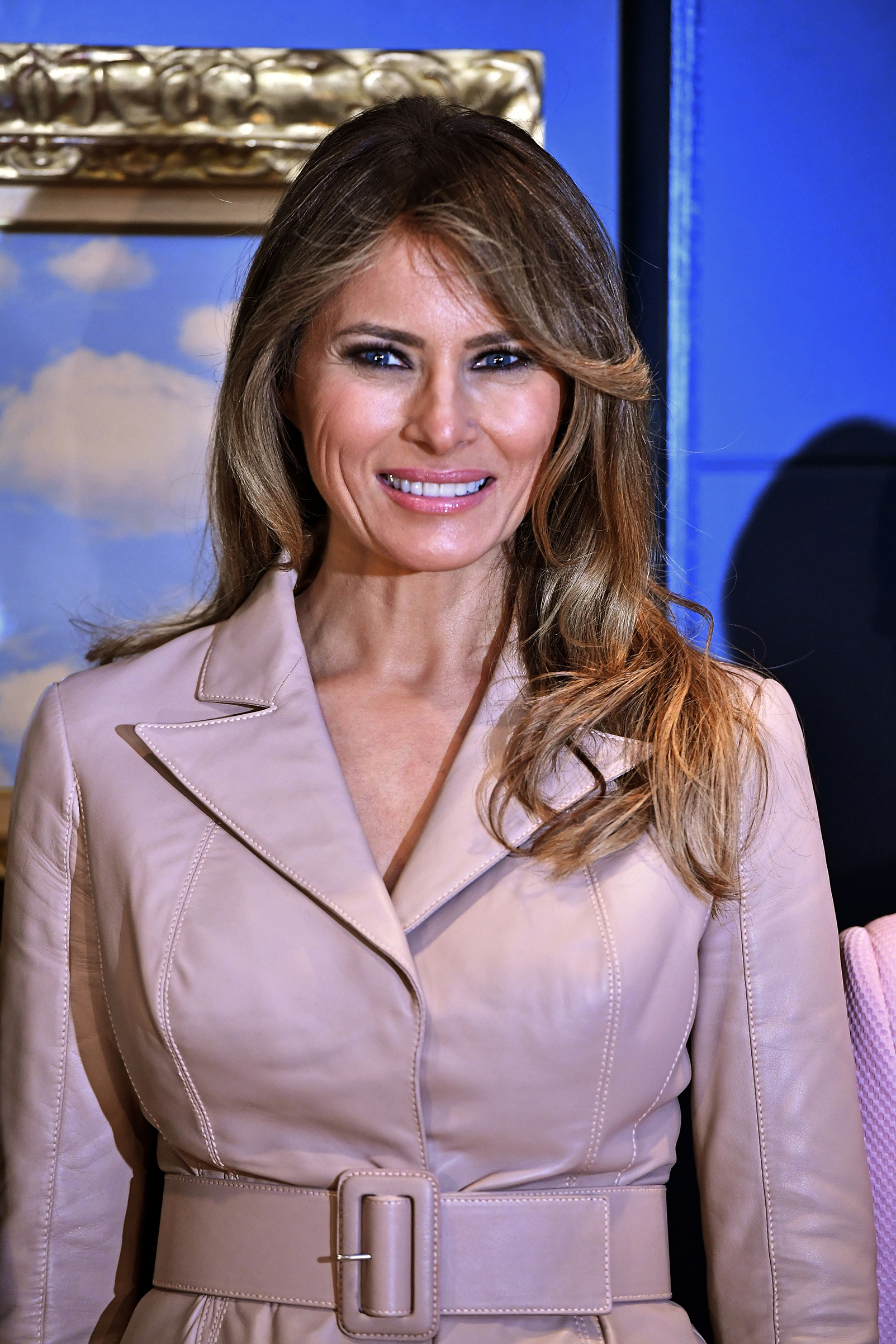 First lady Melania Trump wears a beige skirt suit by Belgian designer Maison Ullens , on a visit to the Magritte Museum, on May 25, 2017, in Brussels, on the sidelines of the NATO (North Atlantic Treaty Organization) summit.