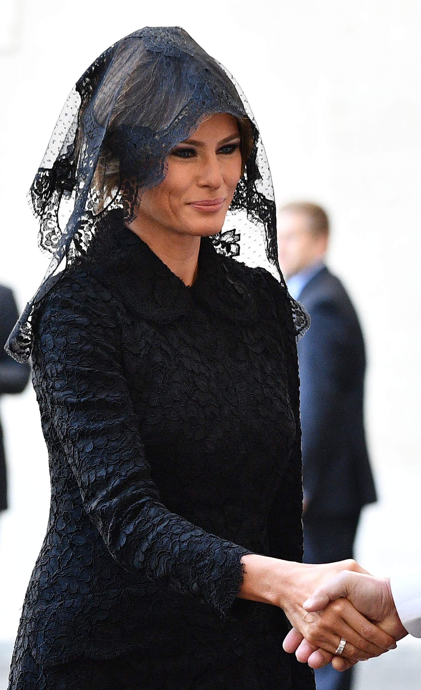 First lady Melania Trump wearing a lace Dolce & Gabbana outfit, arrives at the Vatican prior a private audience of US President Donald Trump with Pope Francis, on May 24, 2017.
