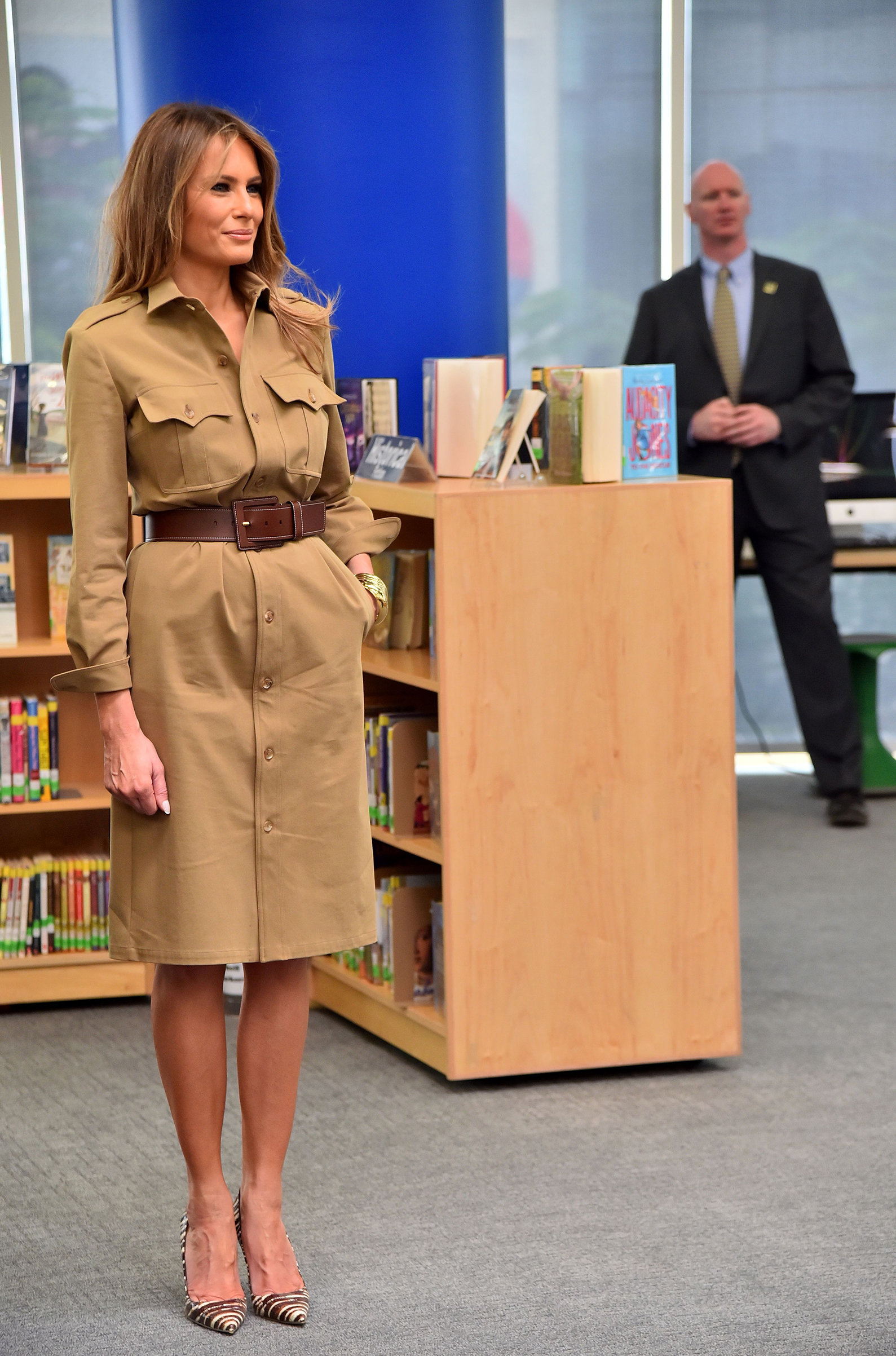 First lady Melania Trump wearing a Ralph Lauren Collection shirtdress, visits the American International School in the Saudi capital Riyadh on May 21, 2017.