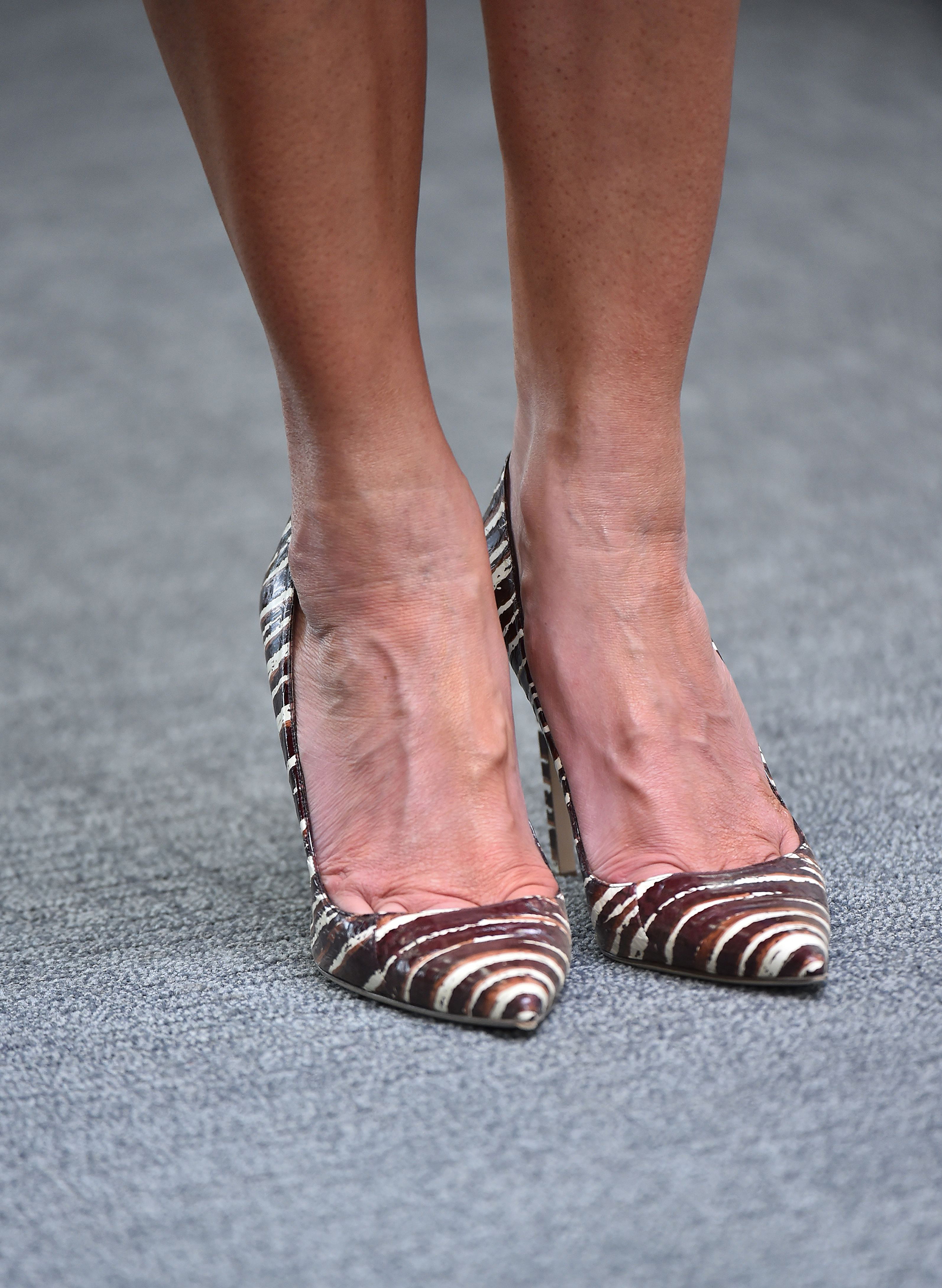 A picture shows the  brown and white striped Manolo Blahnik  shoes of First Lady Melania Trump as she visits the American International School in the Saudi capital Riyadh on May 21, 2017.