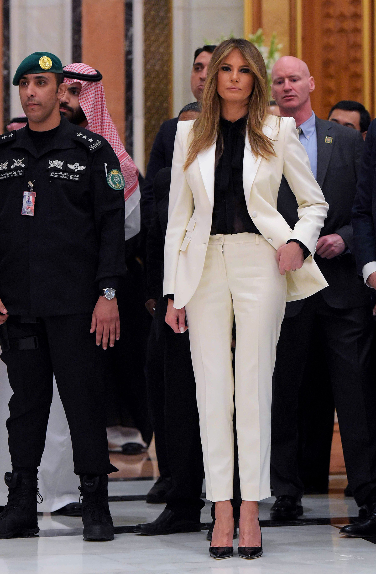 First lady Melania Trump wearing a cream Dolce & Gabbana suit, ahead of the Arab Islamic American Summit at the King Abdulaziz Conference Center in Riyadh on May 21, 2017.