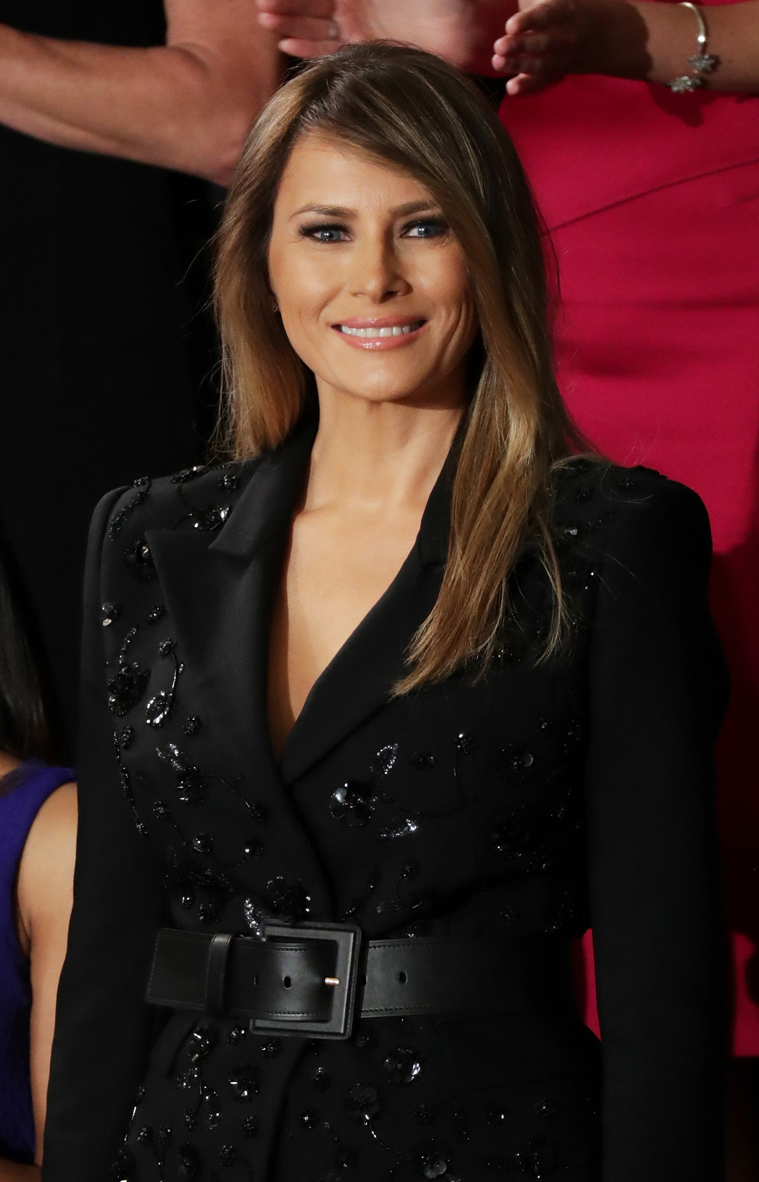 First lady Melania Trump wearing a black embroidered Michael Kors suit with a wide belt,  arrives to a joint session of the U.S. Congress with U.S. President Donald Trump on February 28, 2017 in the House chamber of  the U.S. Capitol in Washington, D.C.