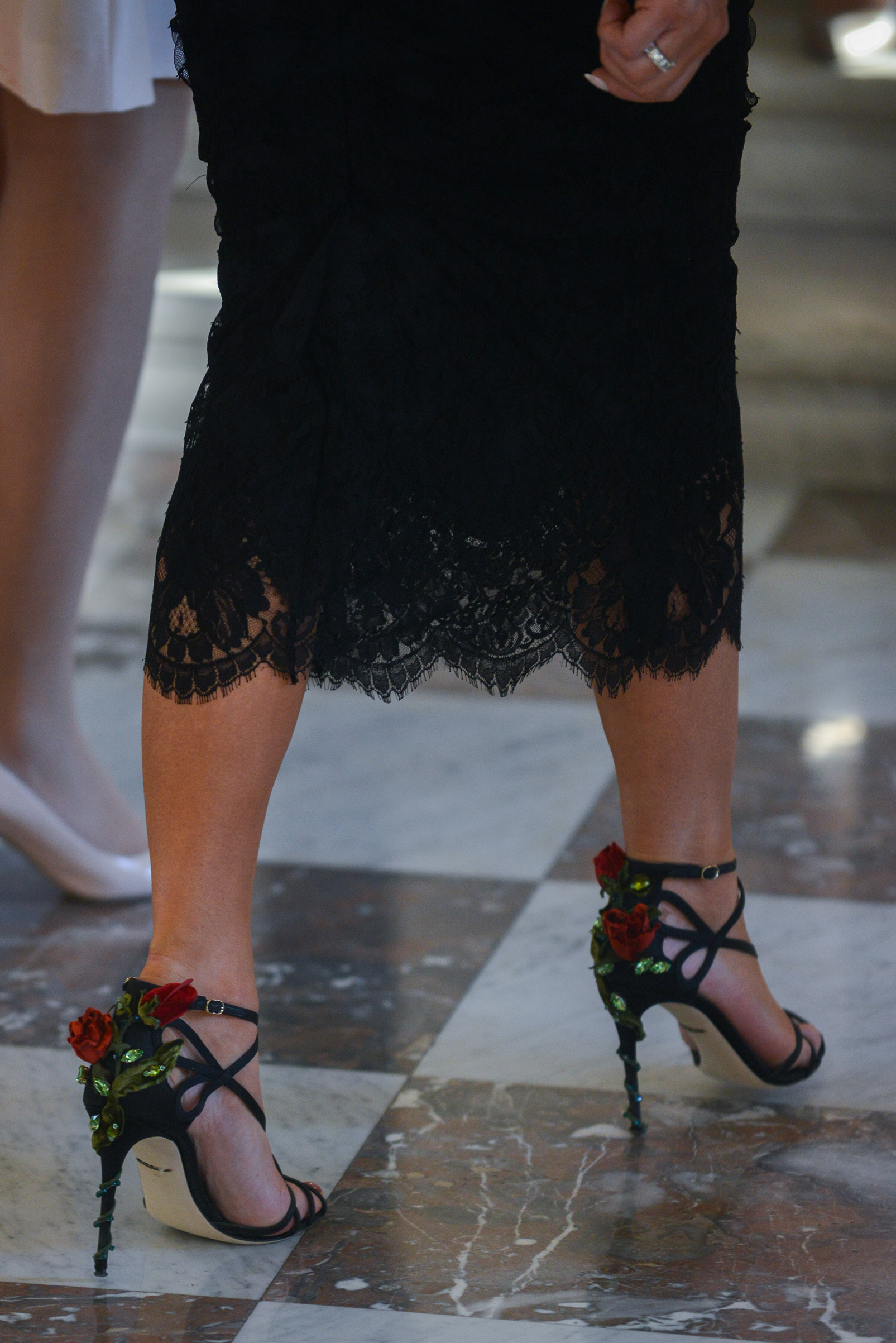 First lady Melania Trump wearing Dolce & Gabbana shoes,arriving for the ladies group picture at the Royal Castel of Laeken, Brussels, Belgium, May 25, 2017.