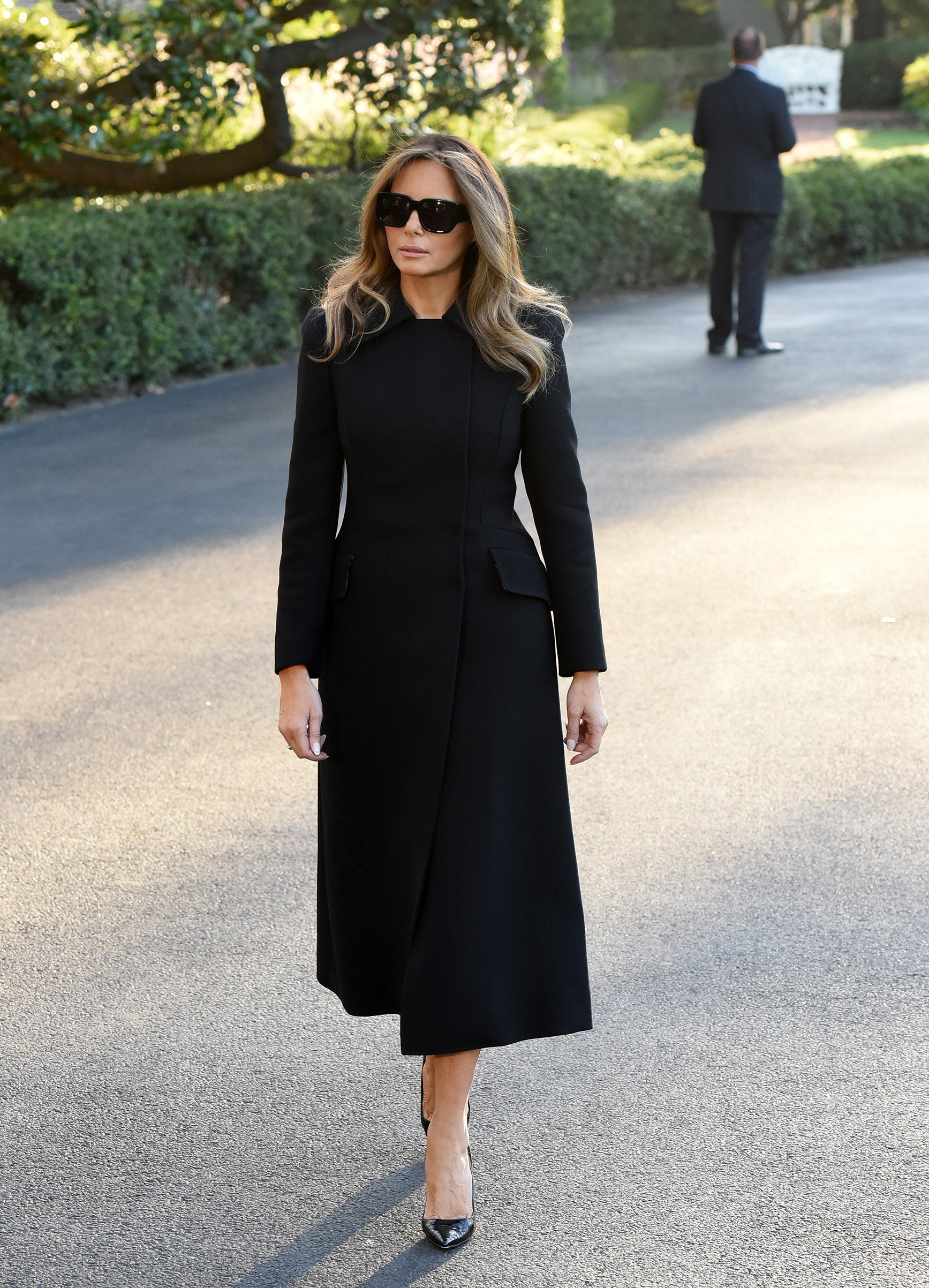 First Lady Melania Trump, departs the White House wearing a black full length coat, en route to Las Vegas, Nevada Oct. 4, 2017.
