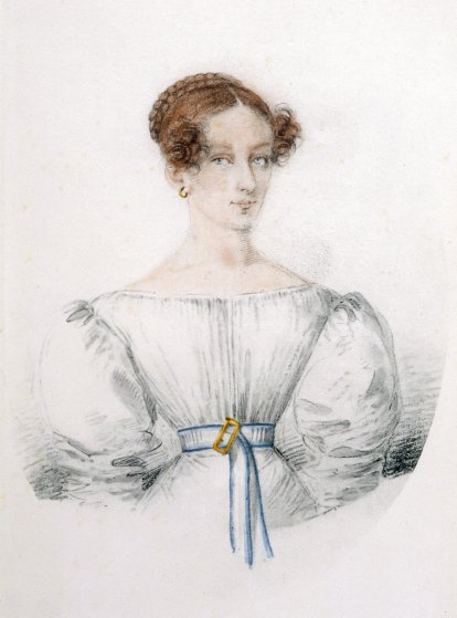 Reputed to be Mary Godwin at age eighteen, copied from a miniature painted in Geneva, summer 1816.